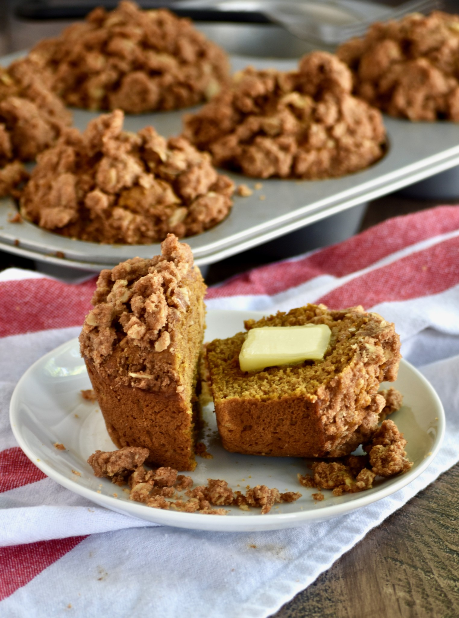whole wheat pumpkin apple muffins with oatmeal walnut streusel // cait's plate