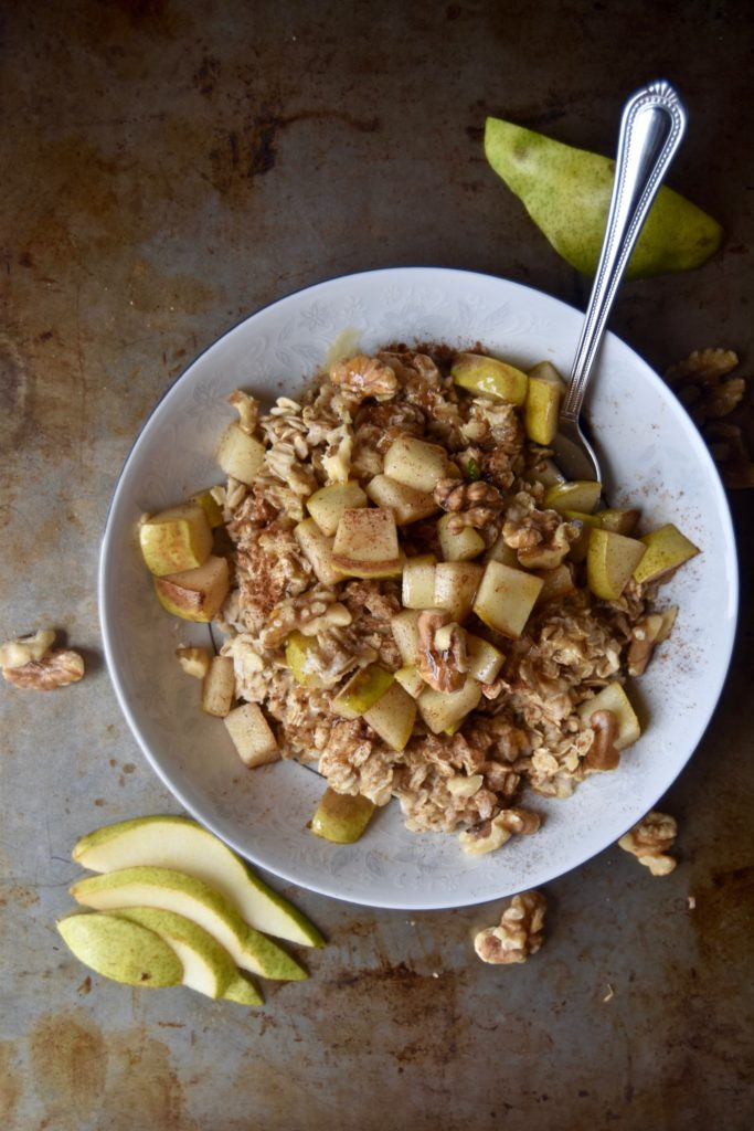 pear, walnut and honey oatmeal - a simple breakfast that is sure to warm you up // cait's plate