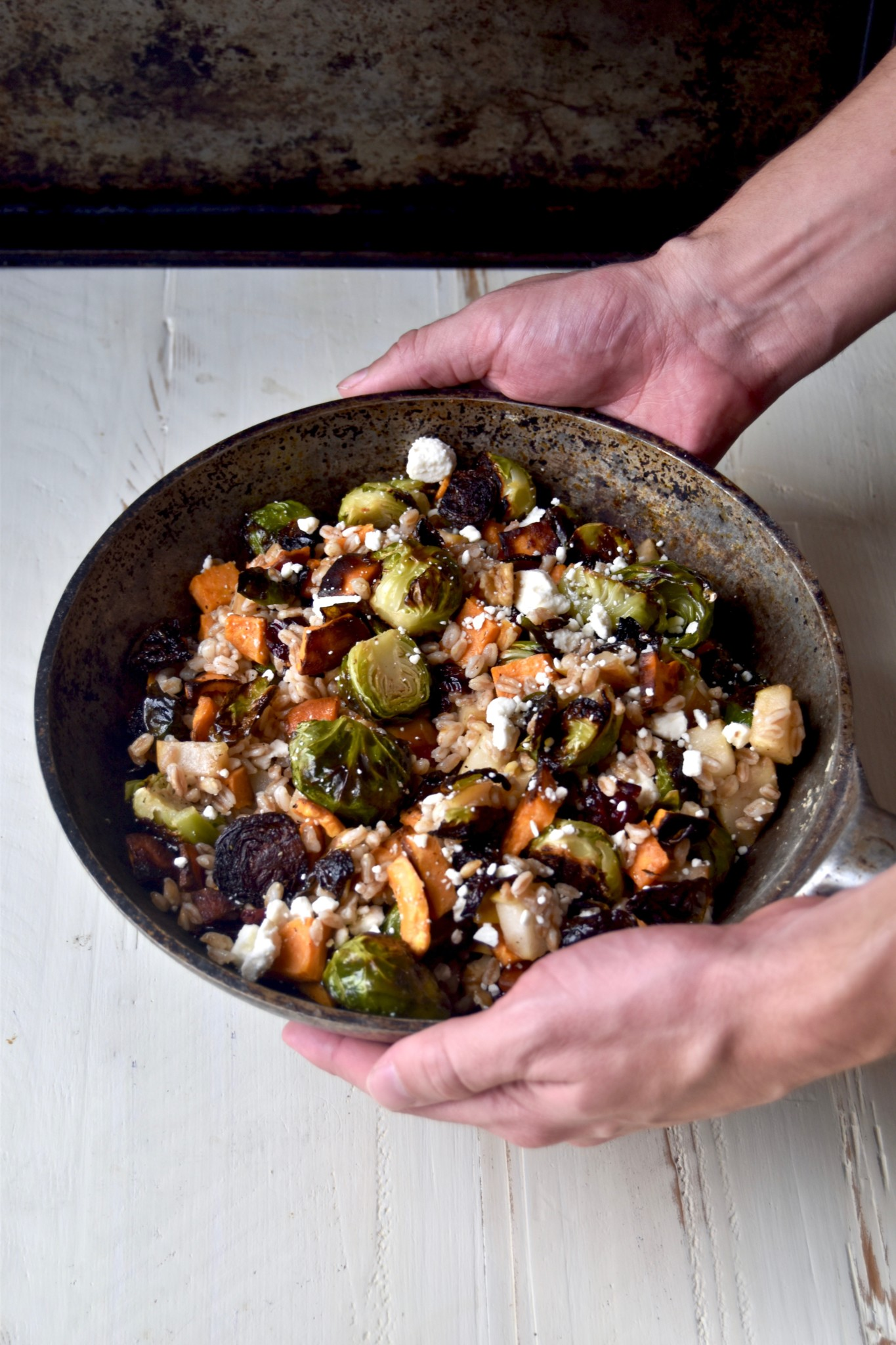 roasted harvest vegetable farro & feta bowl - a delicious autumn-inspired meal that comes together quickly and warms the soul // cait's plate