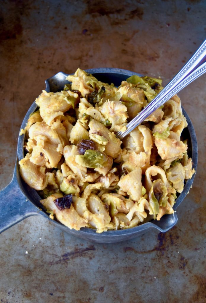 baked pumpkin mac and cheese with roasted brussel sprouts - a delicious, autumnal twist on a classic // cait's plate