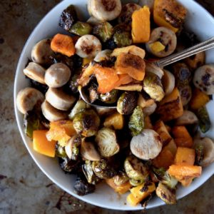 harvest roasted root vegetables and chicken apple sausage - a fully roasted dinner packed with veggies and protein // cait's plate