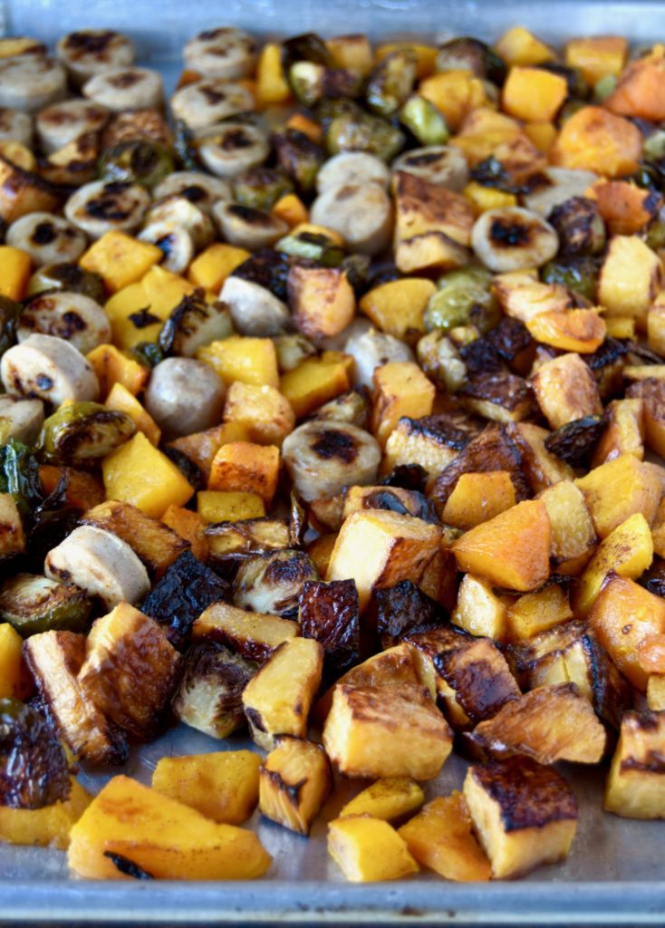 roasted harvest veggies and sausage - a one-pan fully roasted dinner packed with veggies and protein // cait's plate