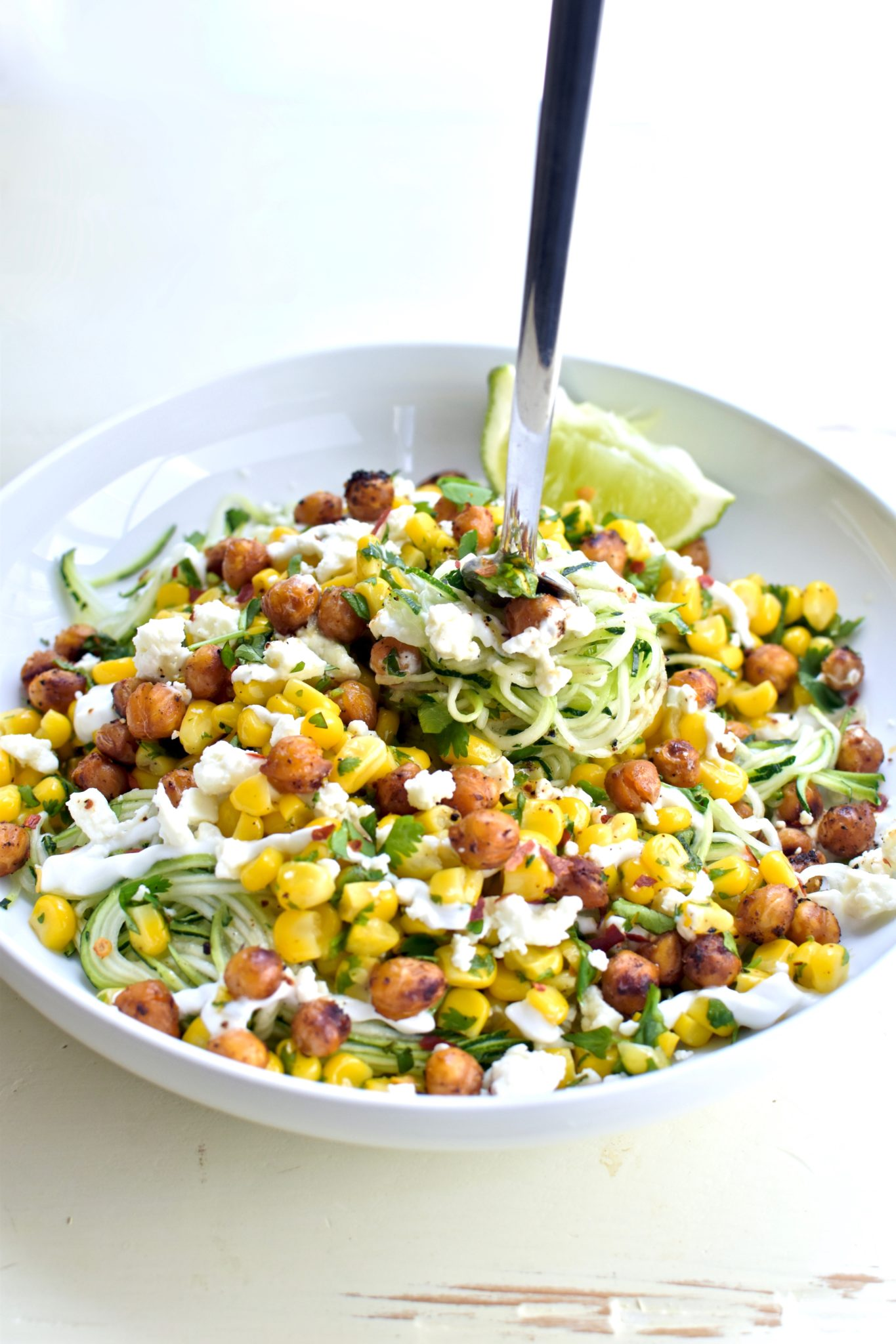 mexican corn zucchini noodles with chili-lime roasted chickpeas // cait's plate