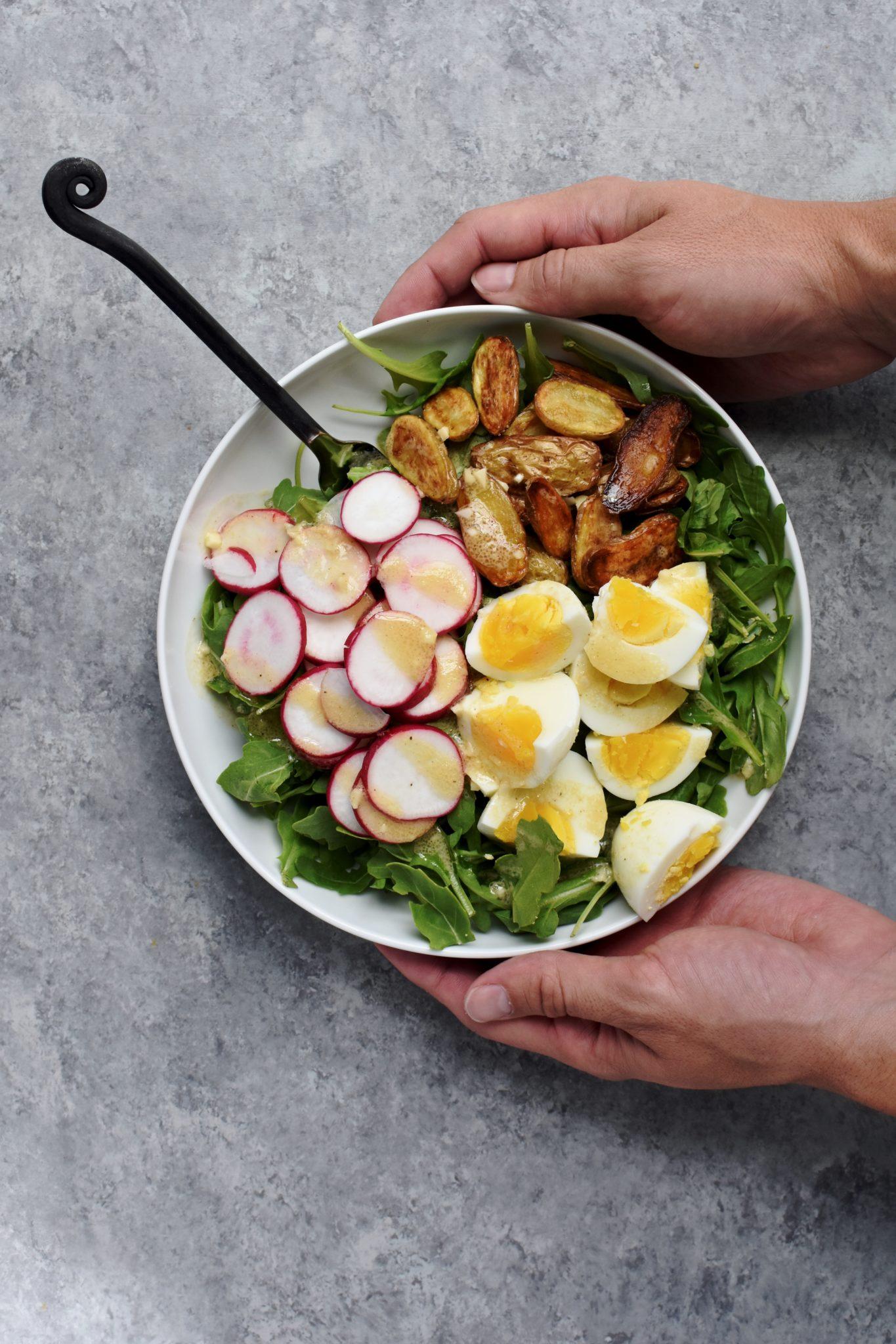 simple roasted potato, egg & arugula salad // cait's plate
