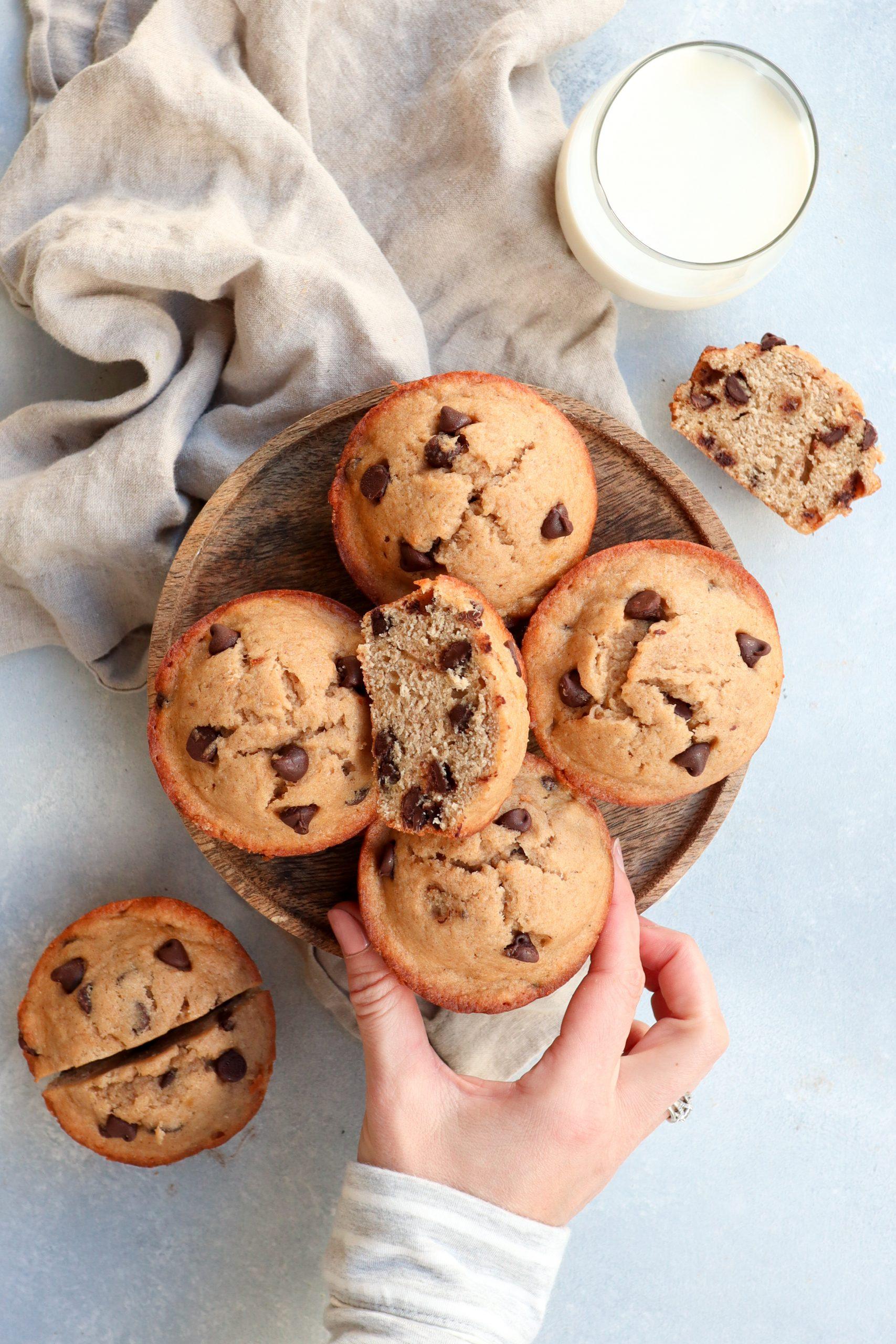 jumbo whole wheat chocolate chip banana muffins // cait's plate