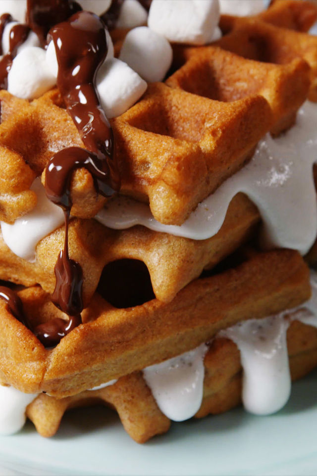 s'mores waffle on delish.com