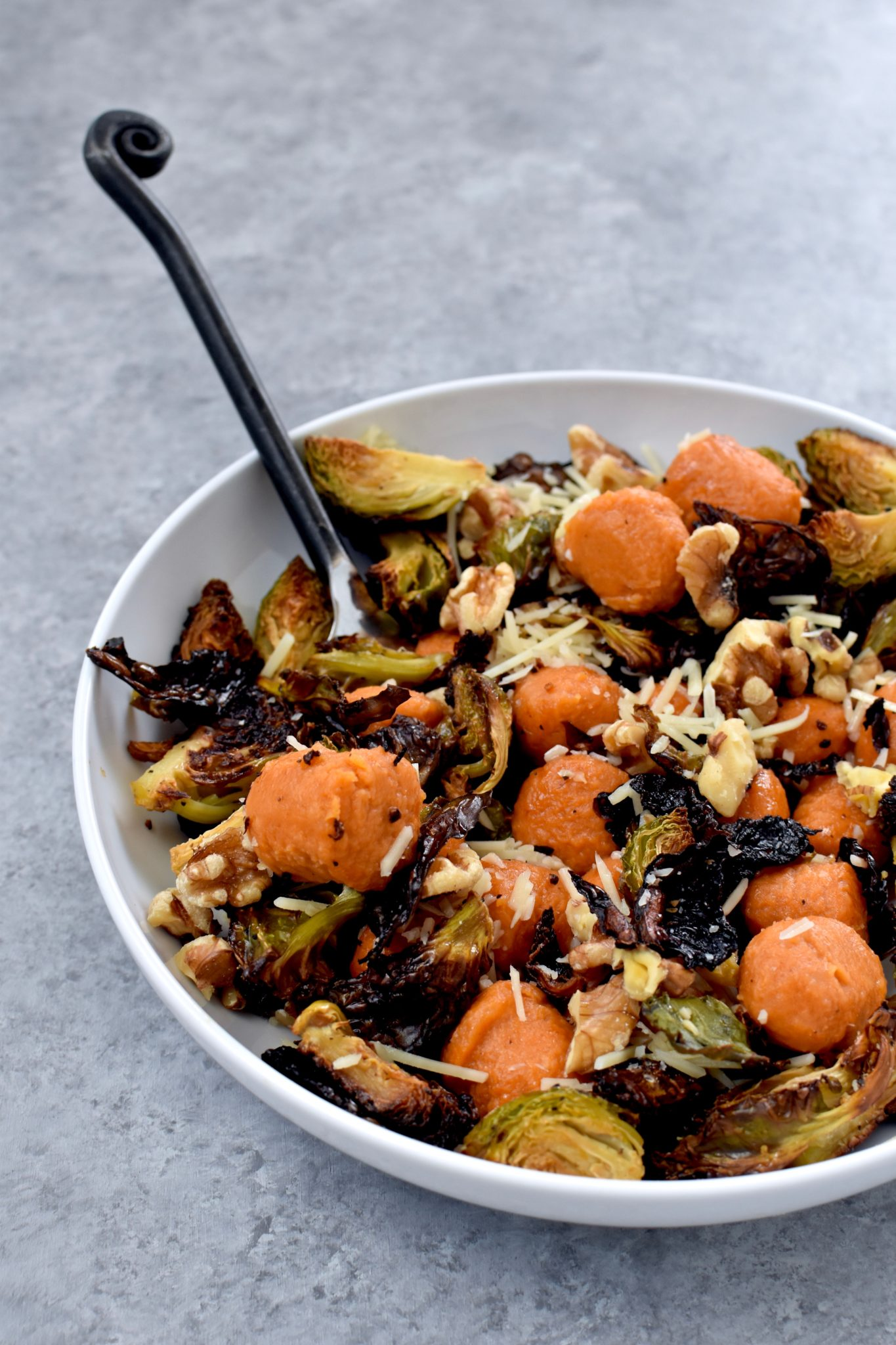 sweet potato gnocchi with roasted brussel sprouts, dried cranberries, walnuts & parmesan // cait's plate