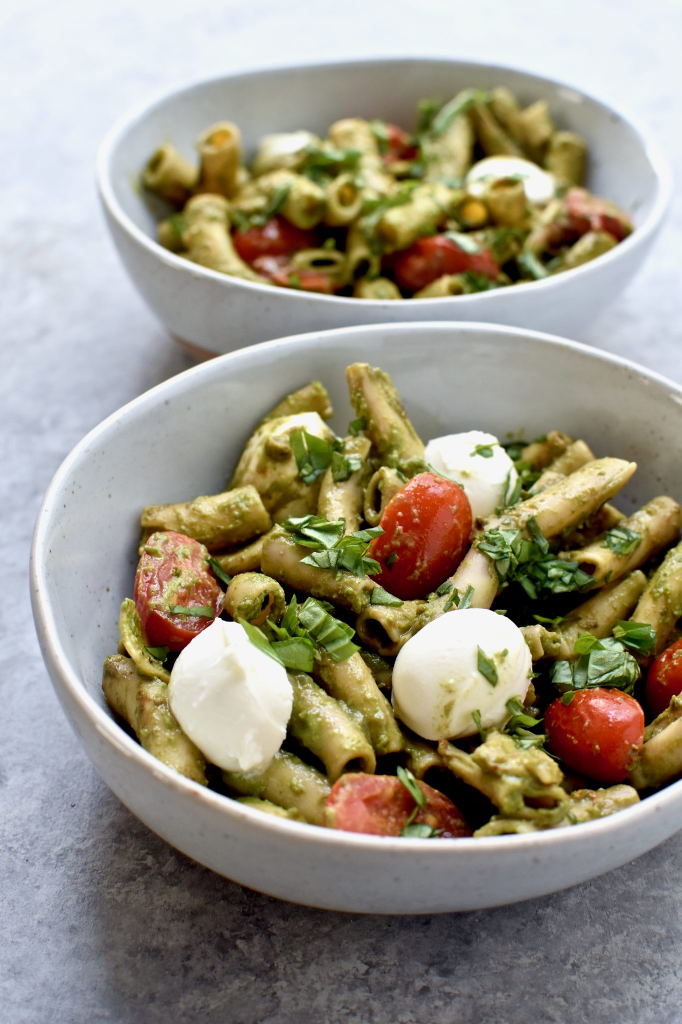 protein packed pesto caprese pasta // cait's plate