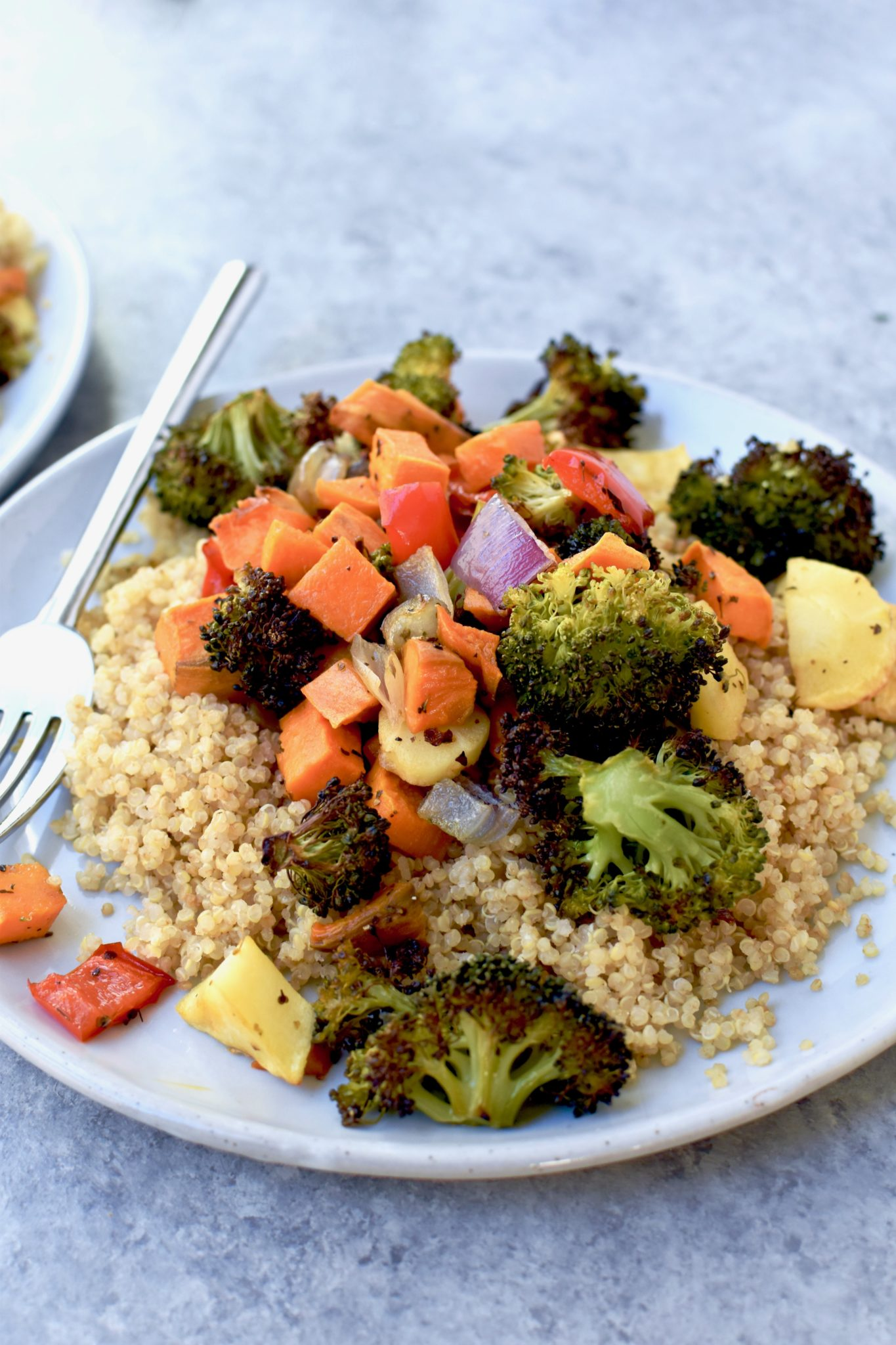 roasted veggie and quinoa with cilantro lime cashew sauce // cait's plate