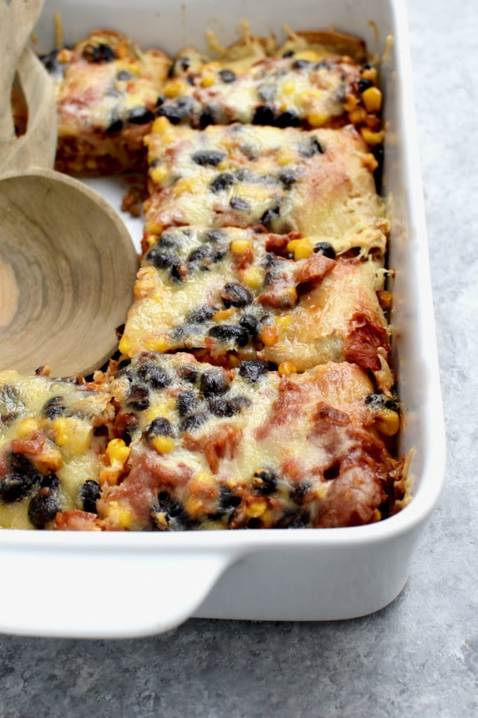 cheesy whole grain enchilada bake // cait's plate
