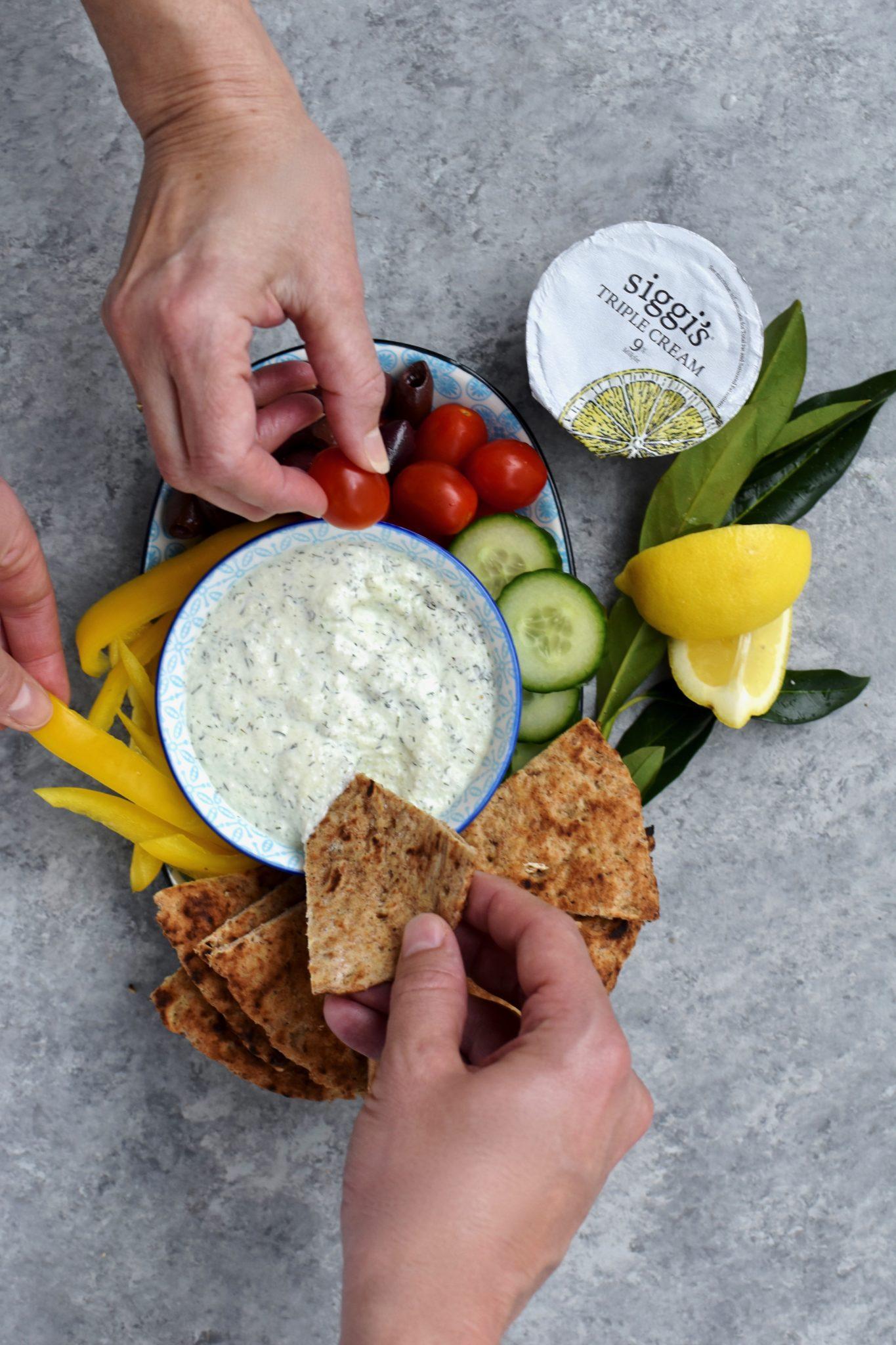 lemon yogurt tzatziki dip // cait's plate