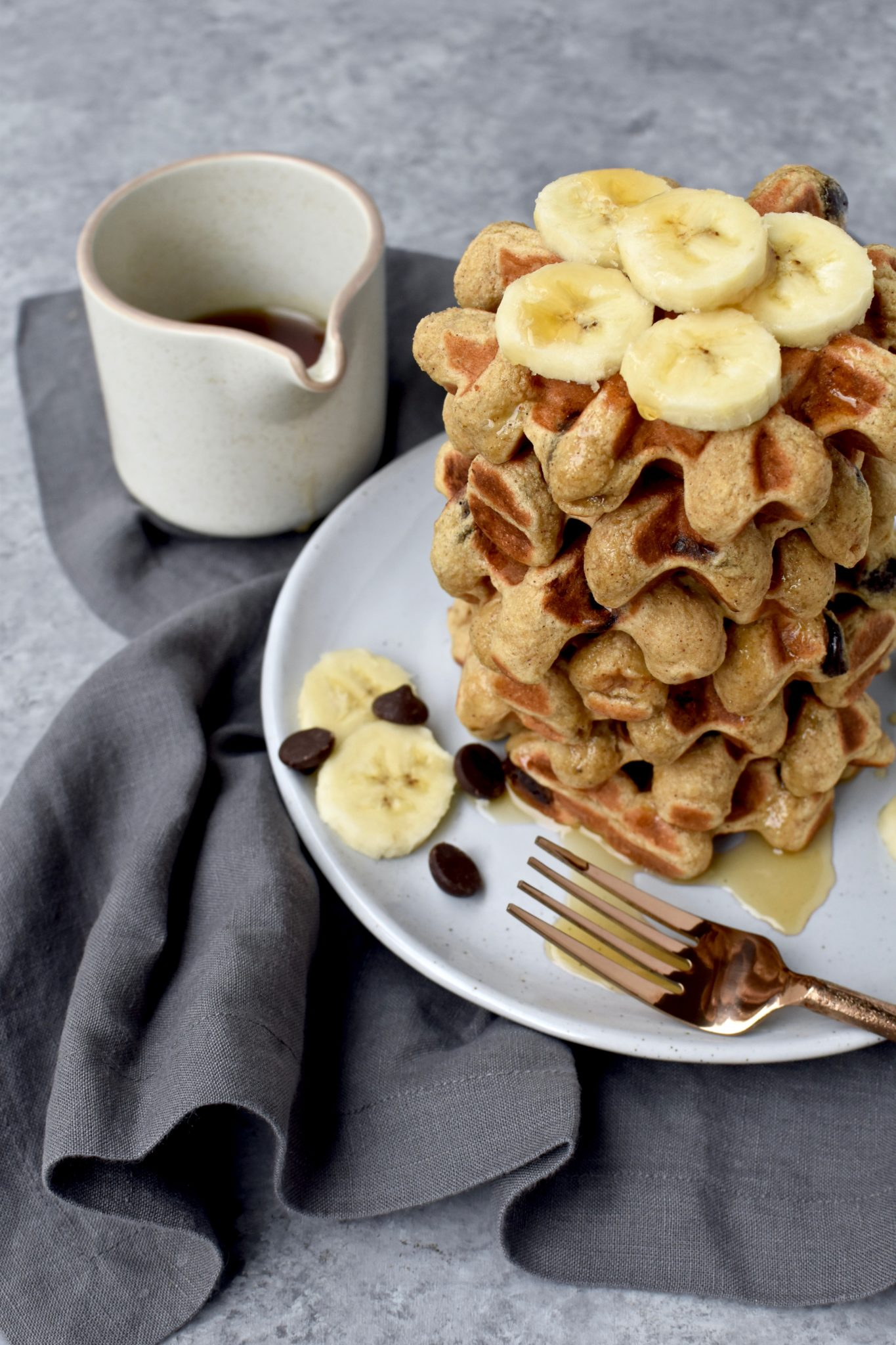 whole grain banana chocolate chip waffles // cait's plate