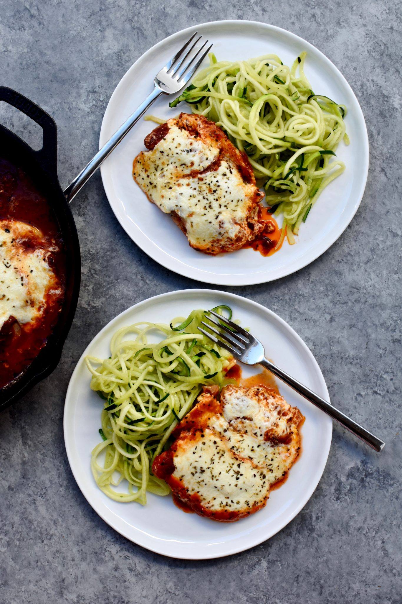 easy skillet chicken parm with zucchini noodles // cait's plate
