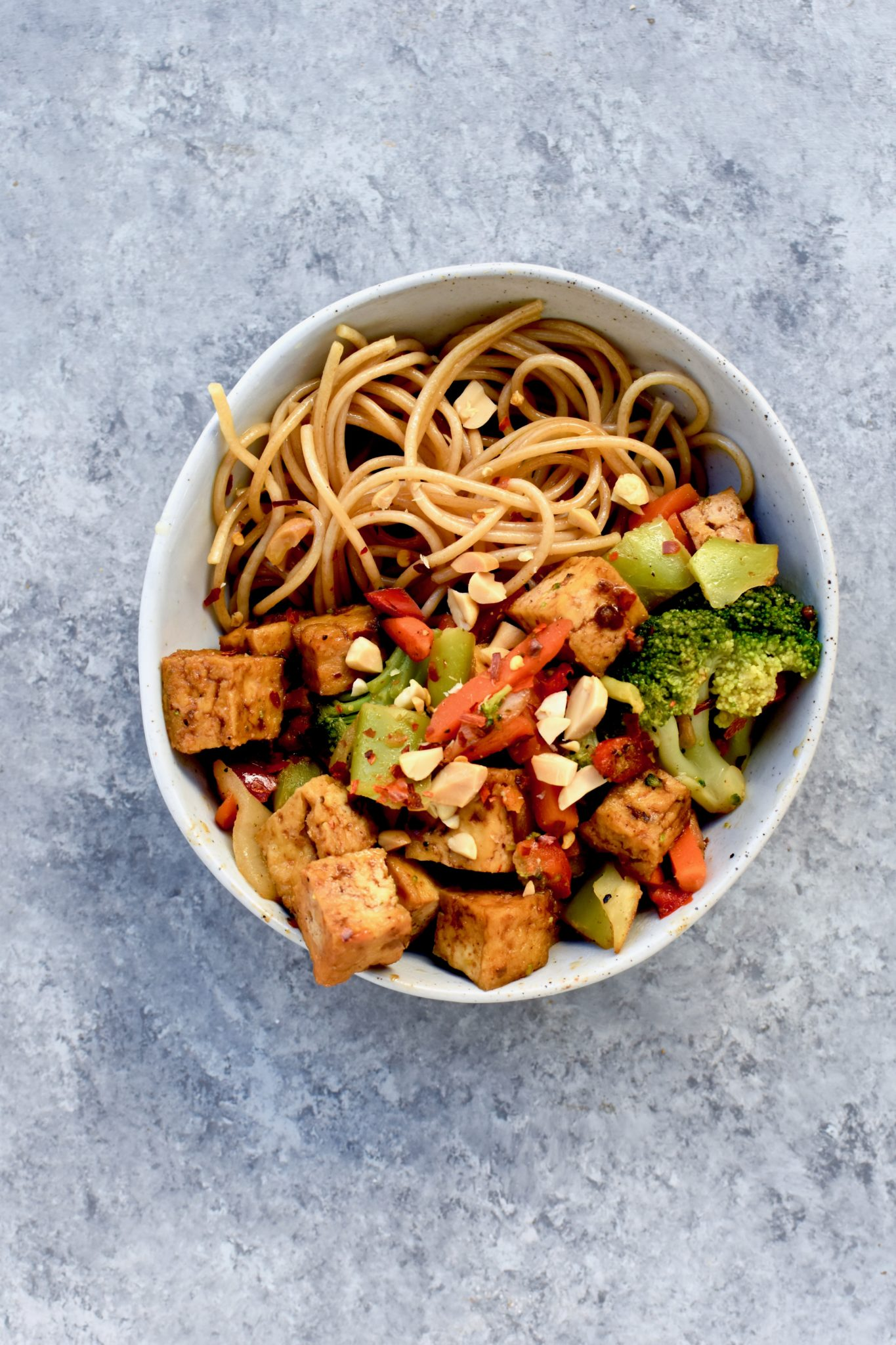 spicy tofu noodle stirfry // cait's plate