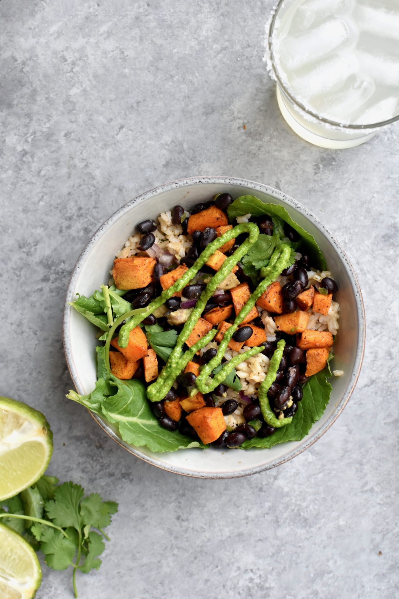 power plate's sweet potato bowls with cilantro lime rice and black beans // cait's plate