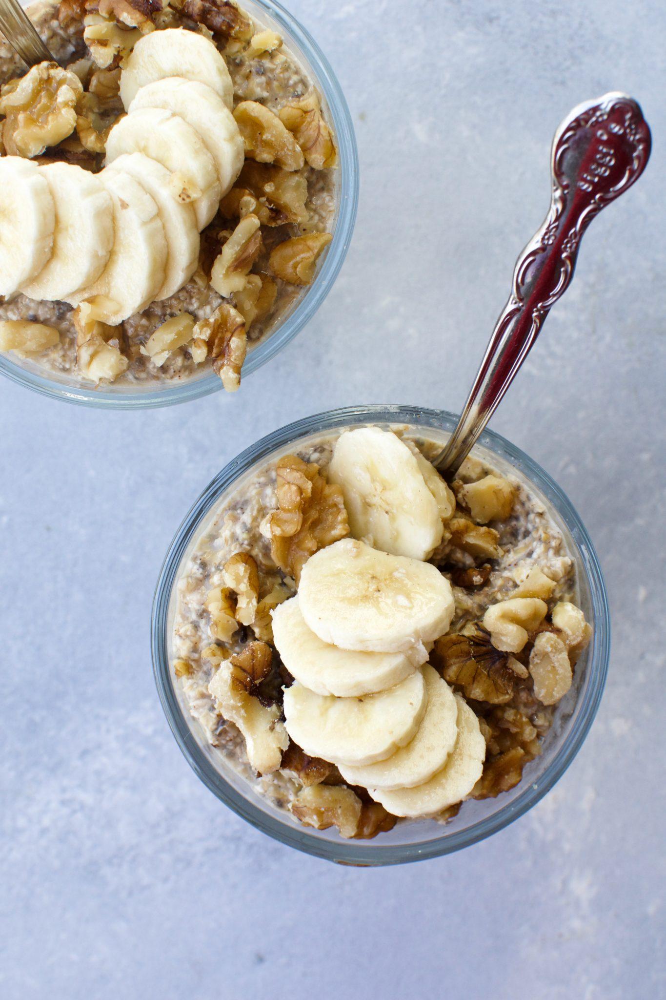 banana walnut bread overnight oatmeal // cait's plate