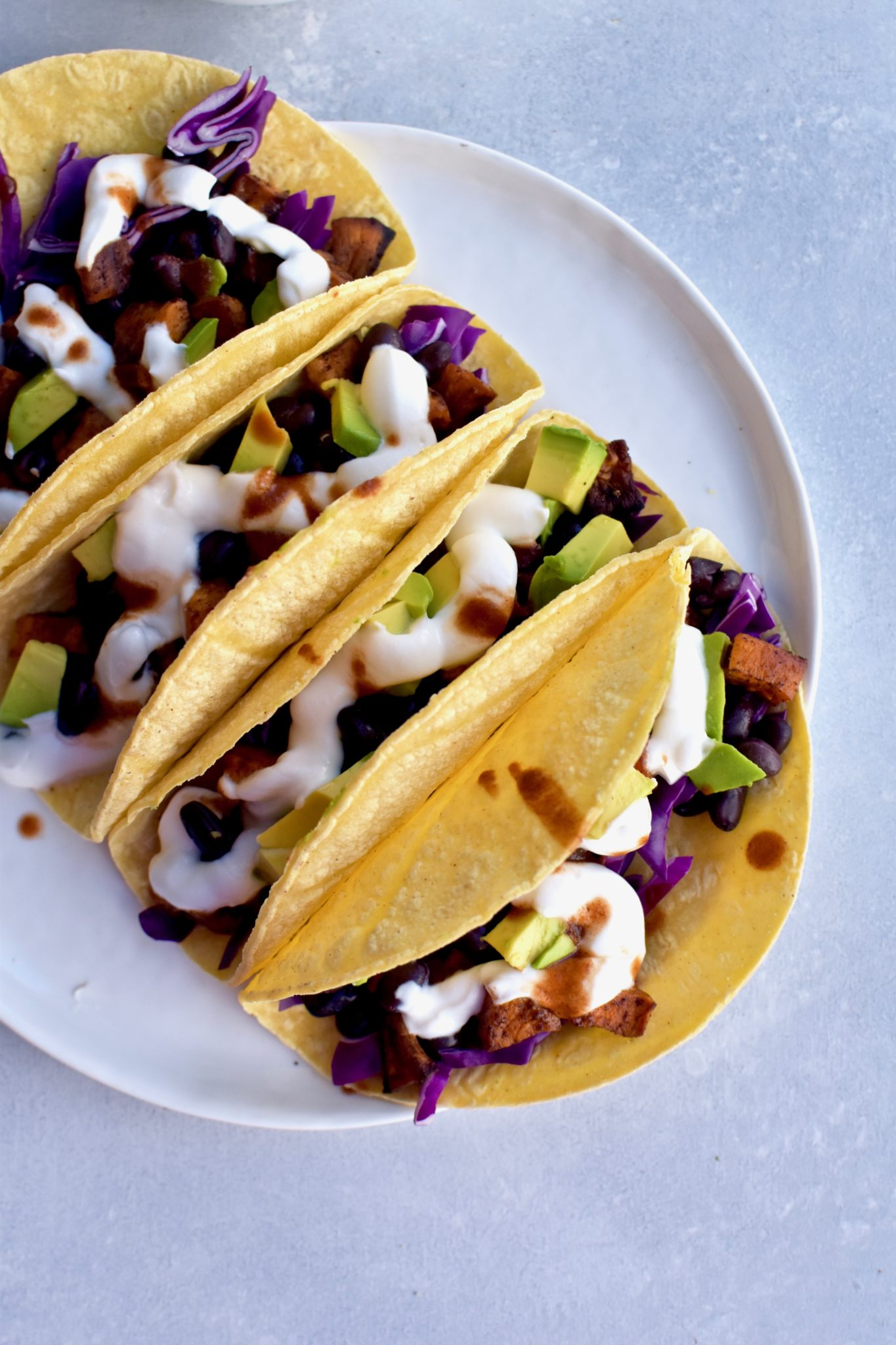 sweet potato black bean tacos // cait's plate