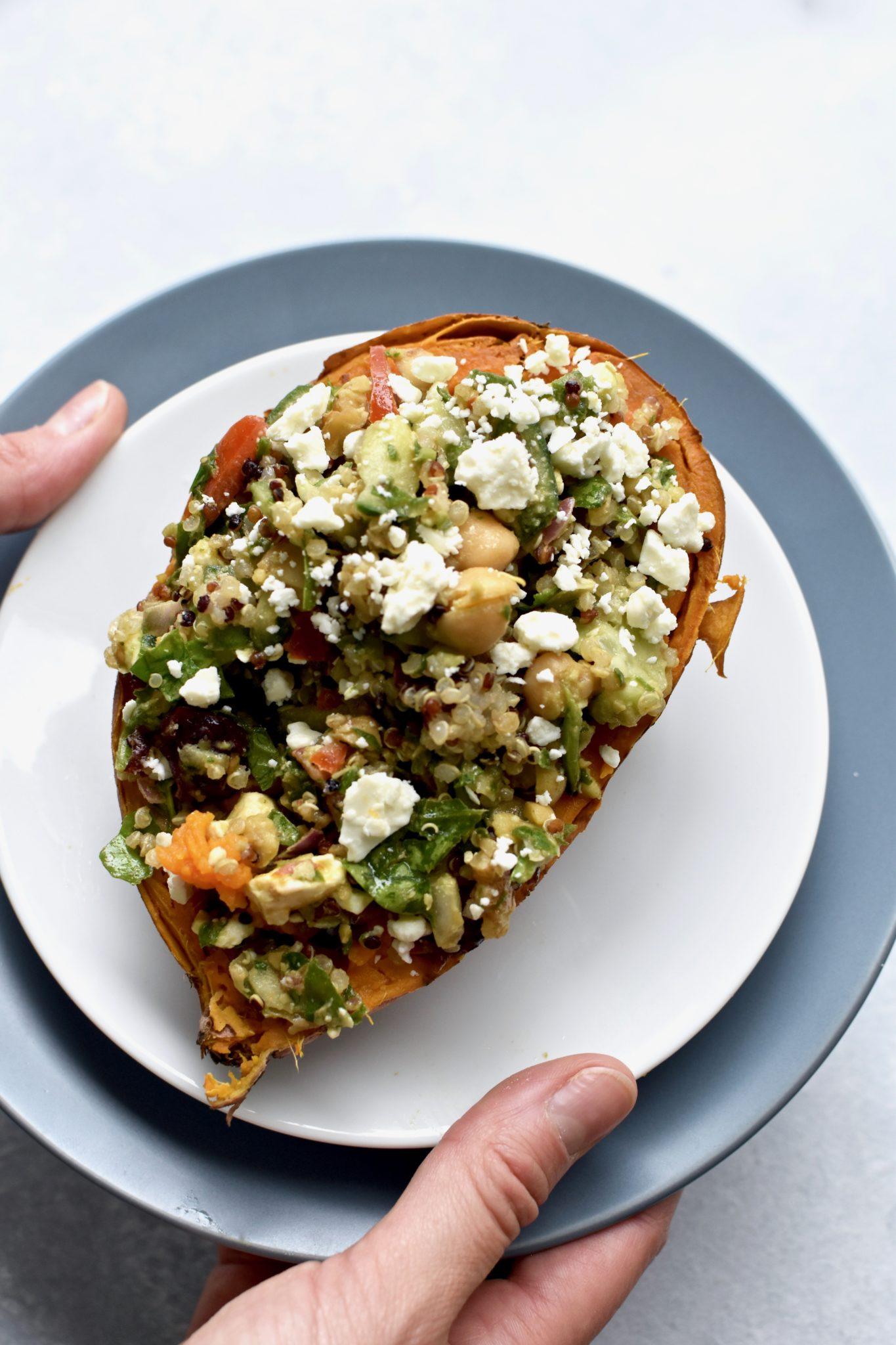 quinoa salad stuffed sweet potatoes // cait's plate