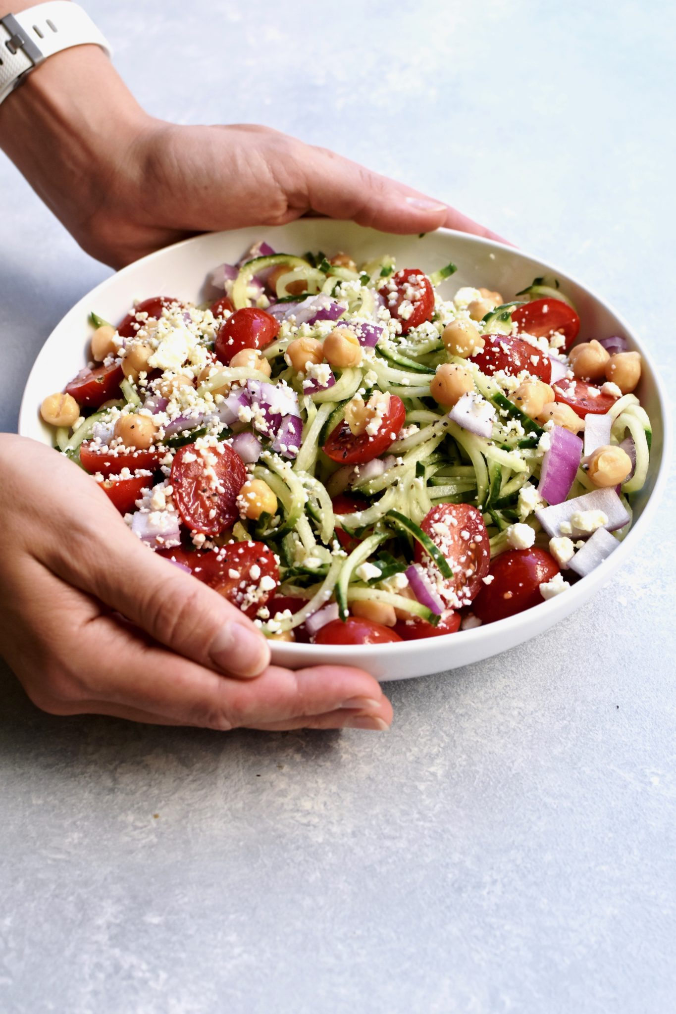 spiralized cucumber mediterranean salad // cait's plate