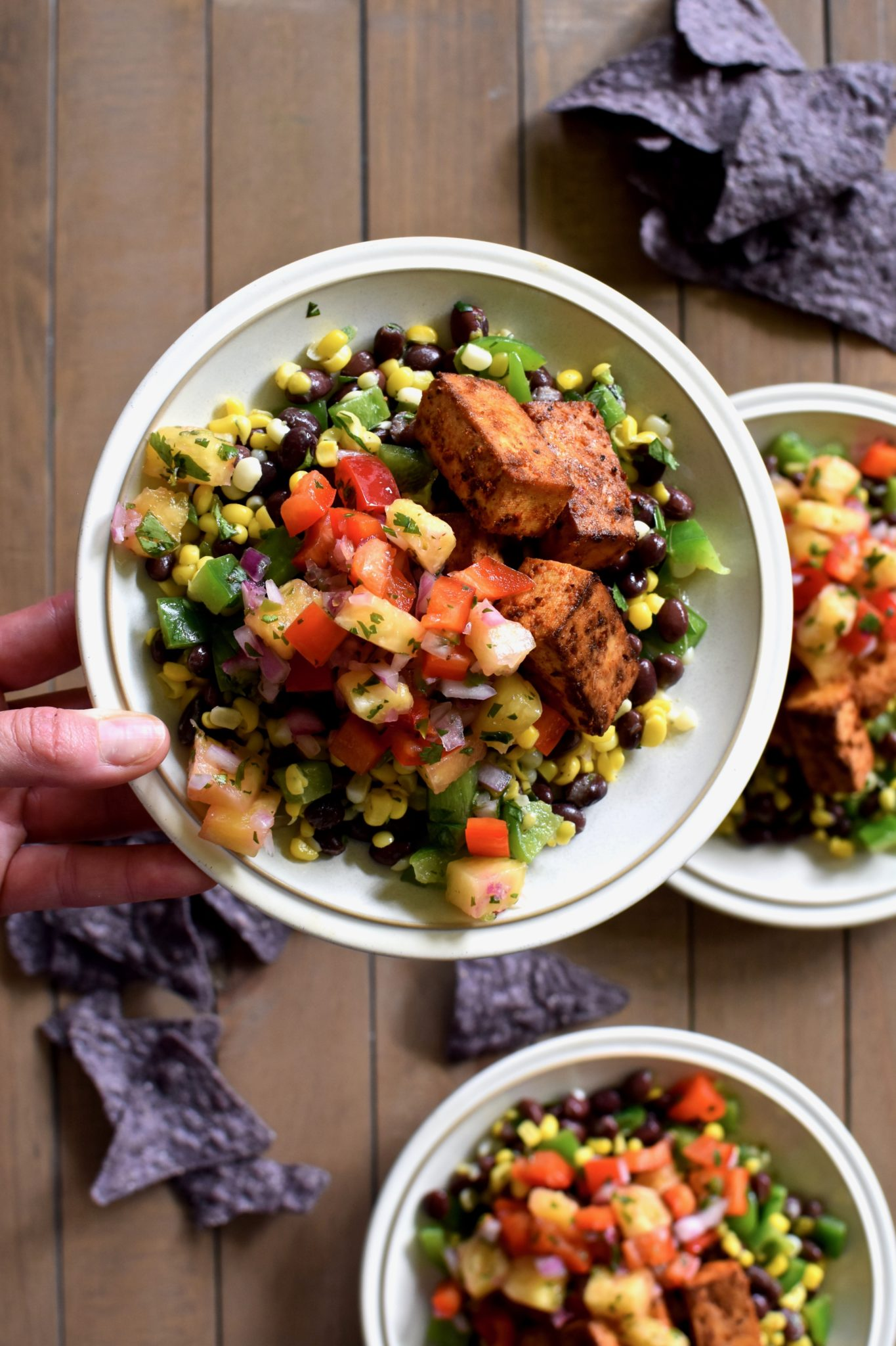 chili-spiced tofu bowl with pepper lime corn and pineapple salsa // cait's plate
