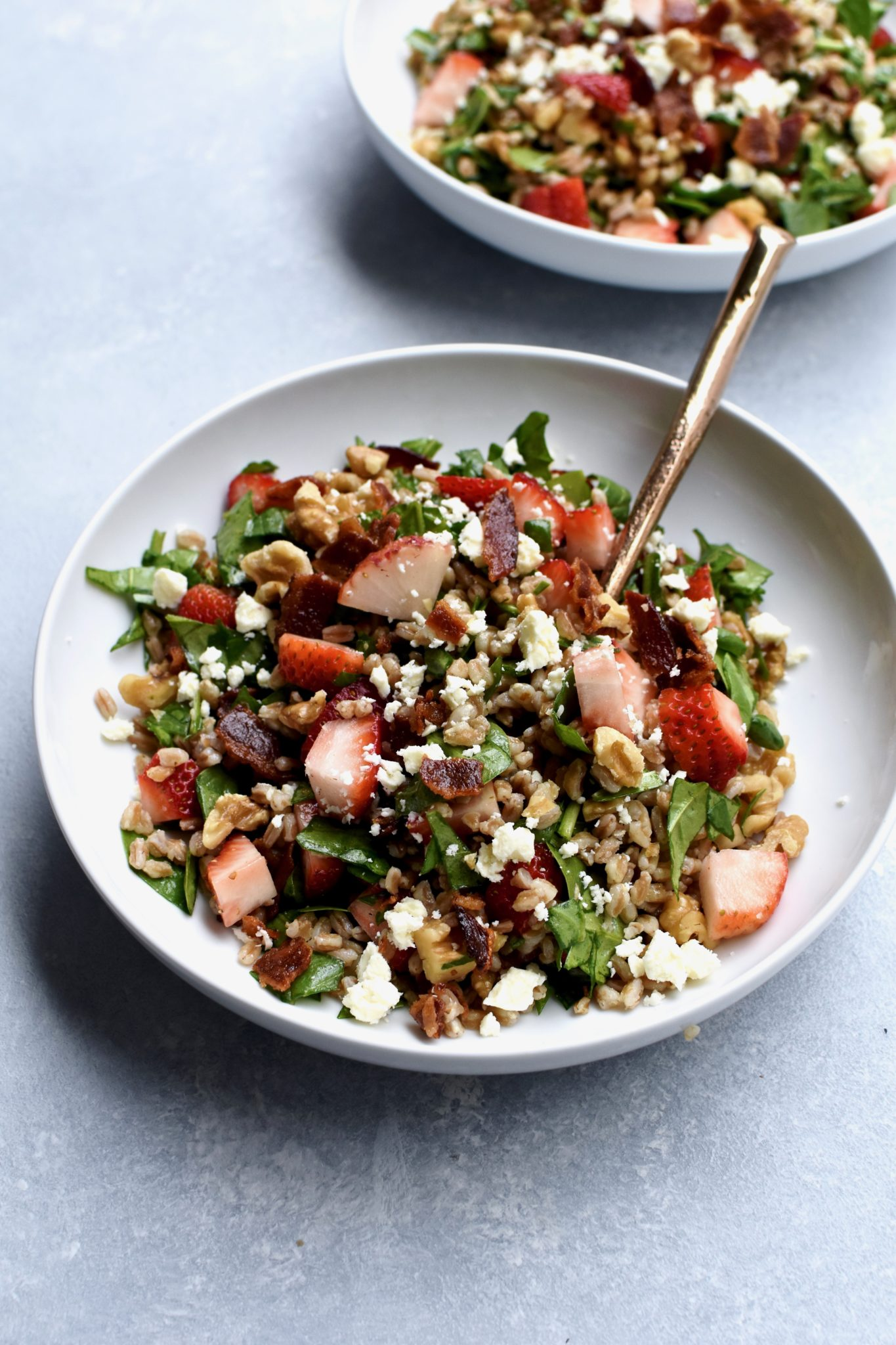 feta bacon & strawberry farro spinach salad
