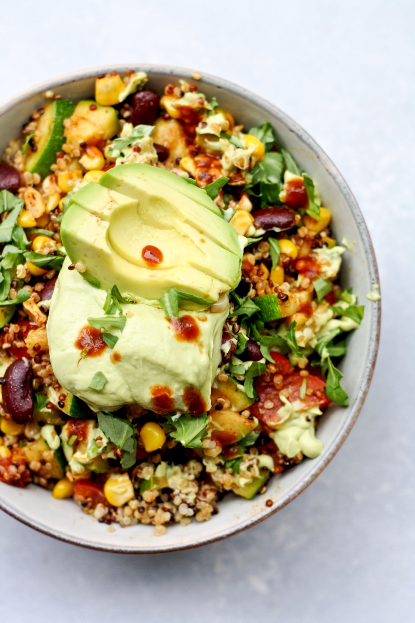 summer veggie mexican quinoa bowl // cait's plate