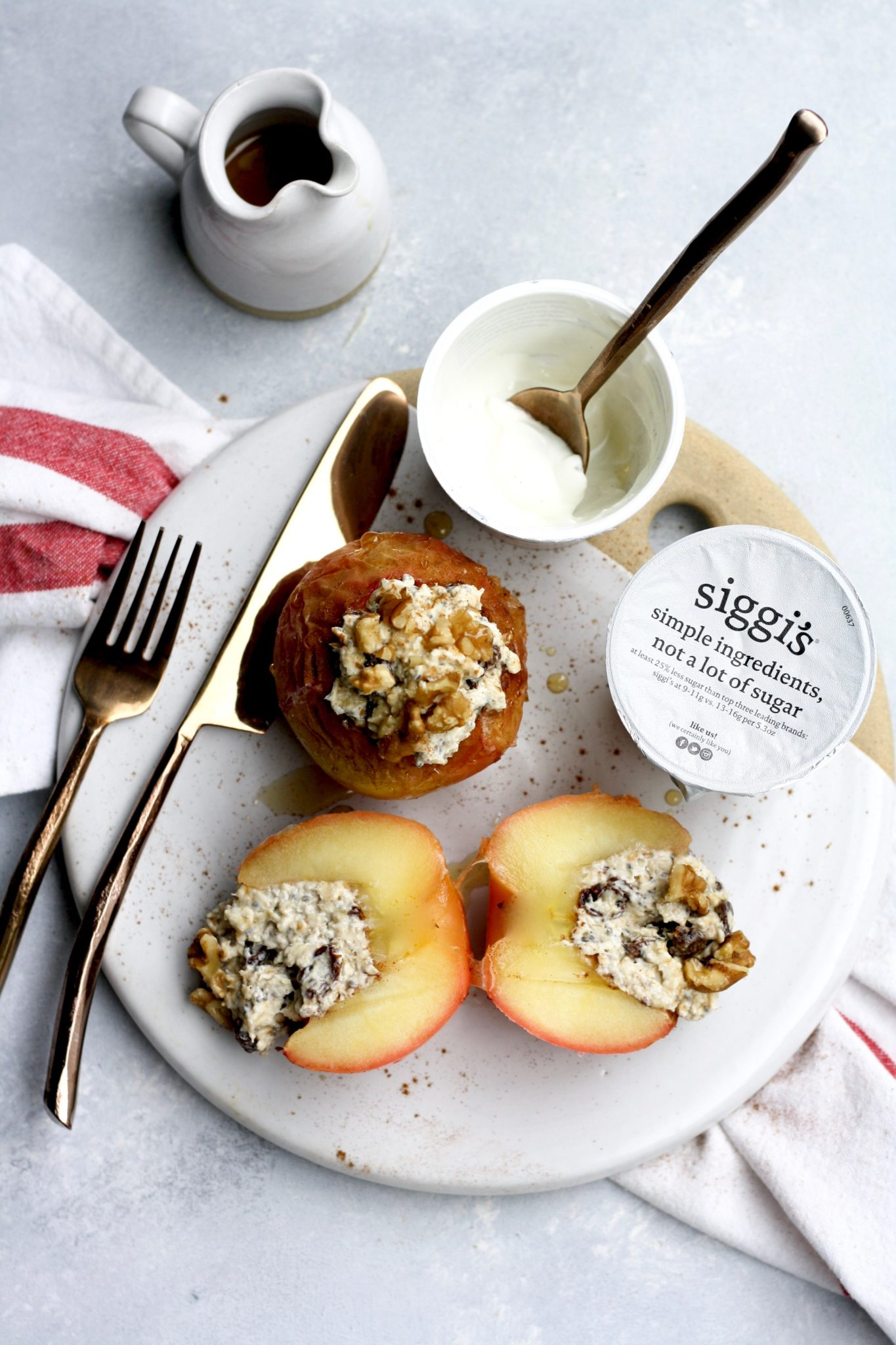 Baked Apples Stuffed With Overnight Vanilla Cinnamon Raisin Walnut Oats Cait S Plate