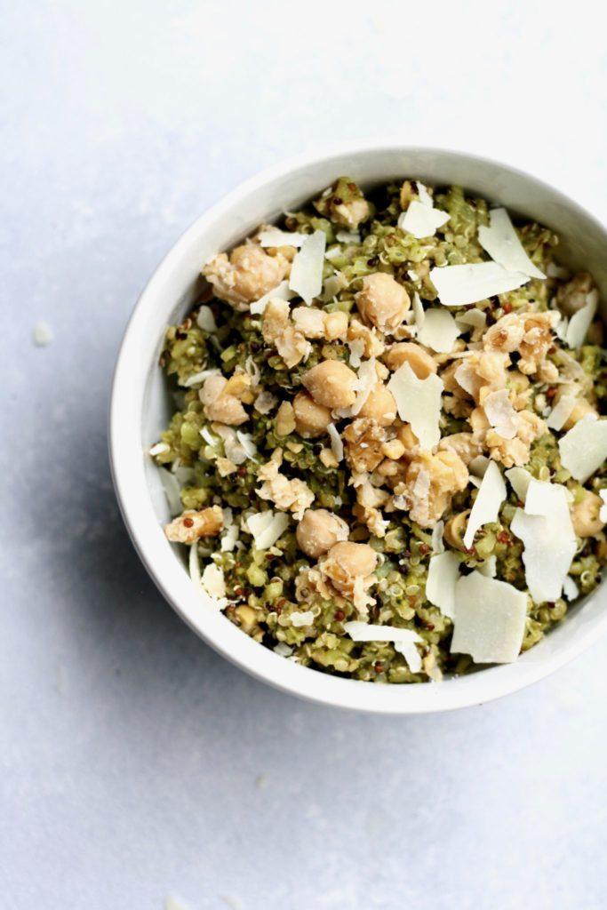 pesto quinoa with riced broccoli and chickpea walnut mash // cait's plate