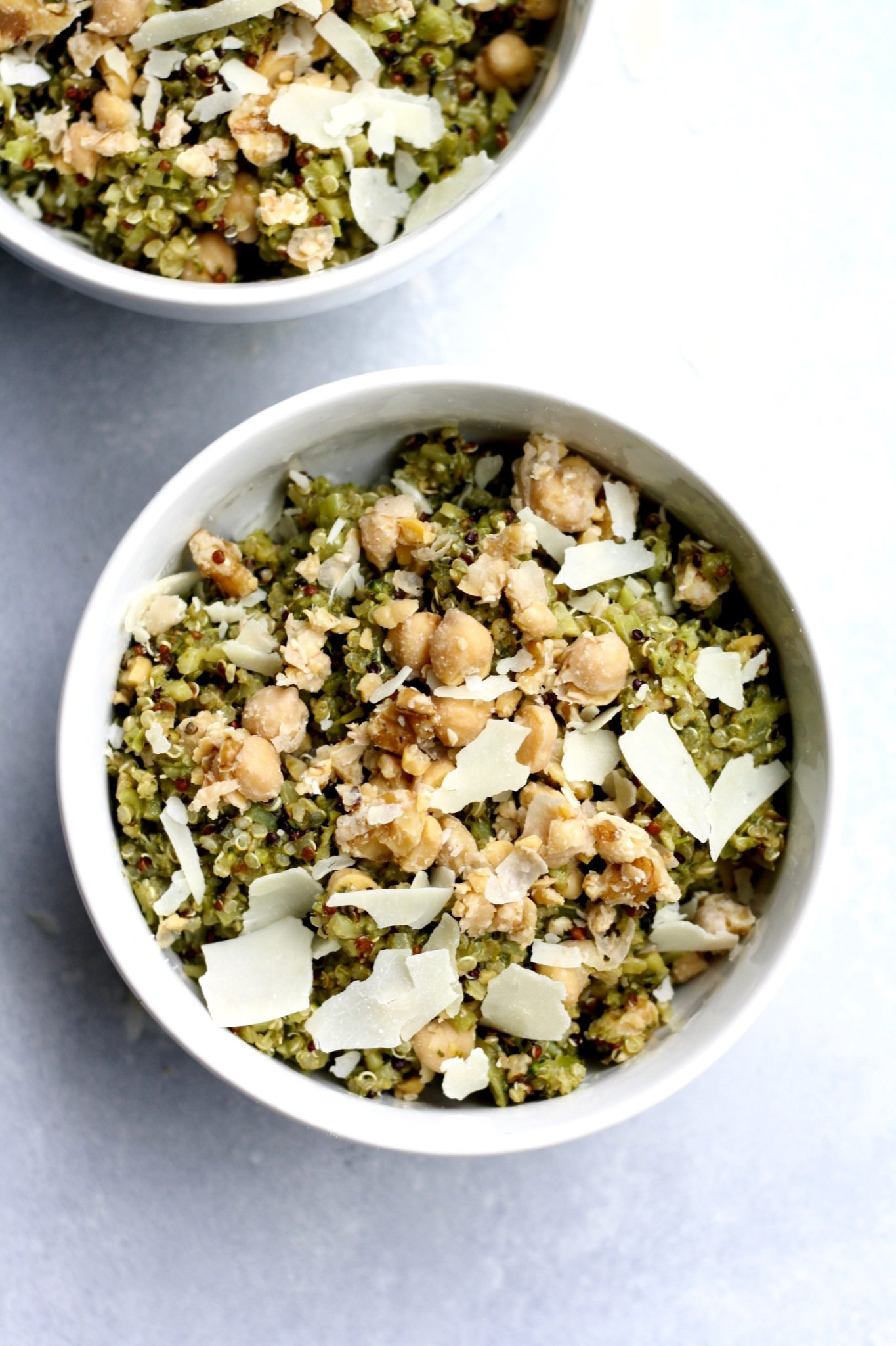 pesto quinoa with riced broccoli and chickpea walnut mash // cait's plate