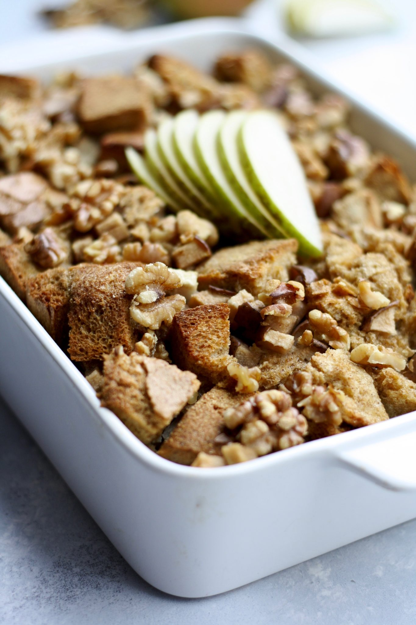 cardamom & cinnamon pear baked french toast with walnuts // cait's plate