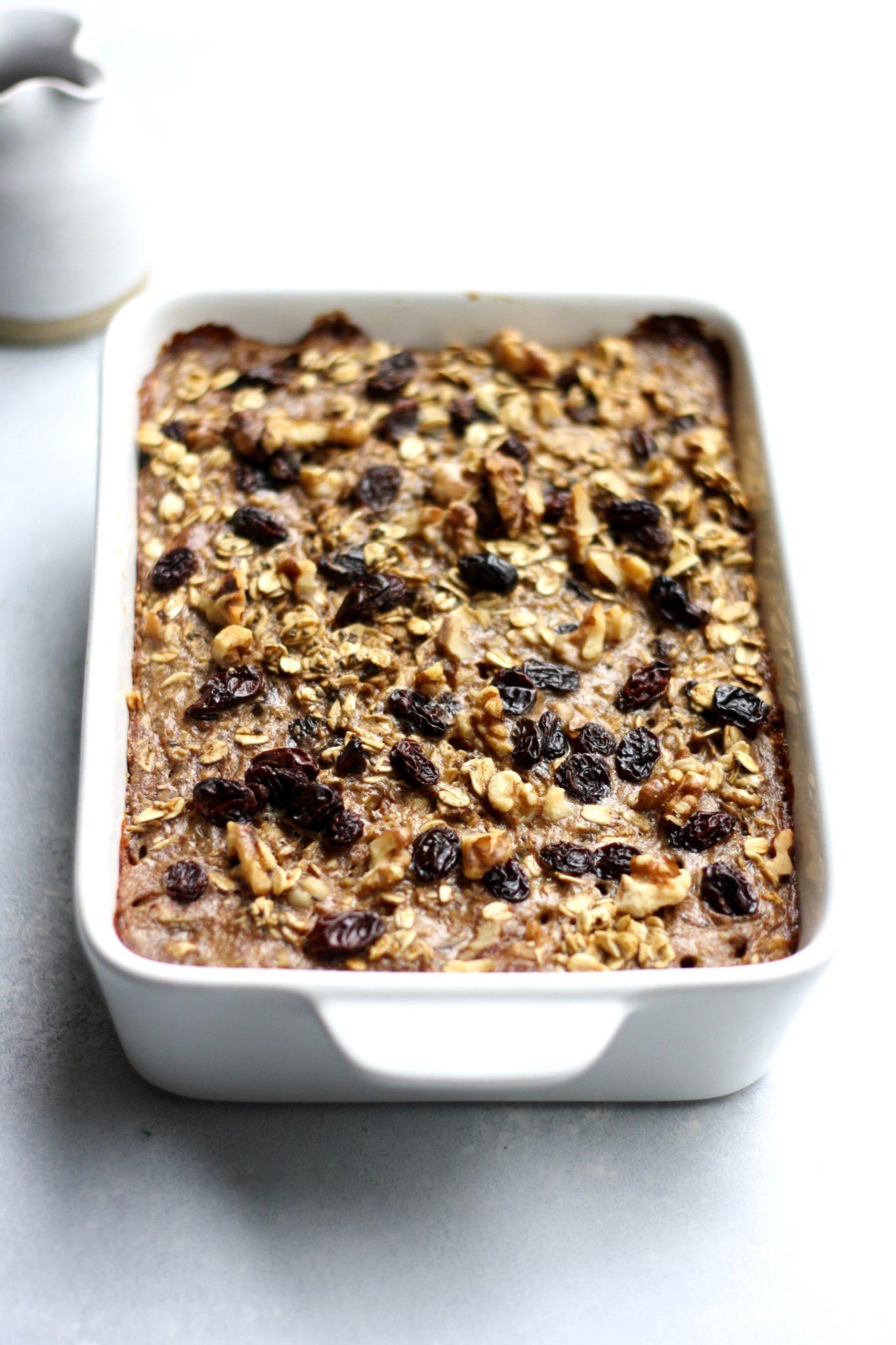 cinnamon raisin walnut baked oatmeal // cait's plate