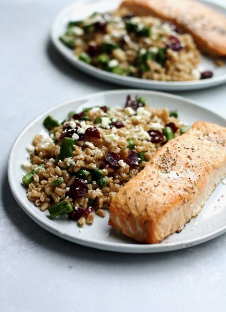 oven roasted salmon with feta, asparagus & cranberry farro // cait's plate