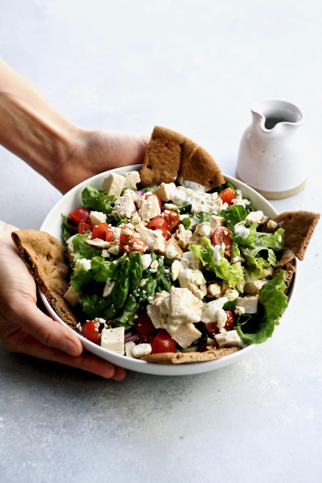 5 minute chicken souvlaki salad // cait's plate