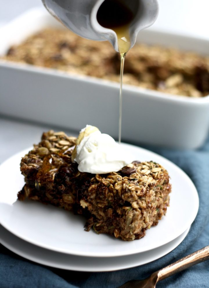 chocolate chip walnut zucchini baked oatmeal // cait's plate