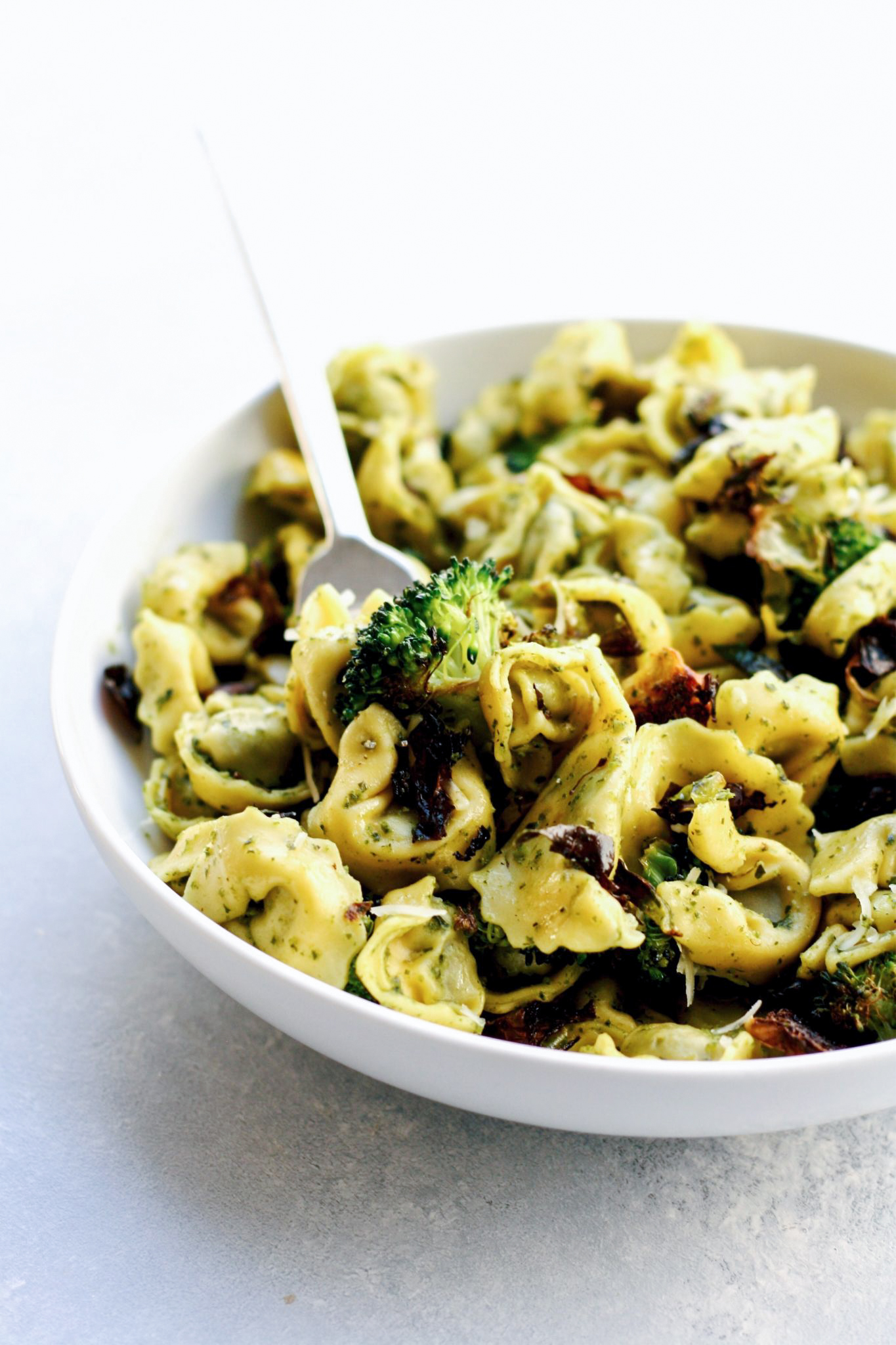 pesto tortellini with roasted vegetables // cait's plate