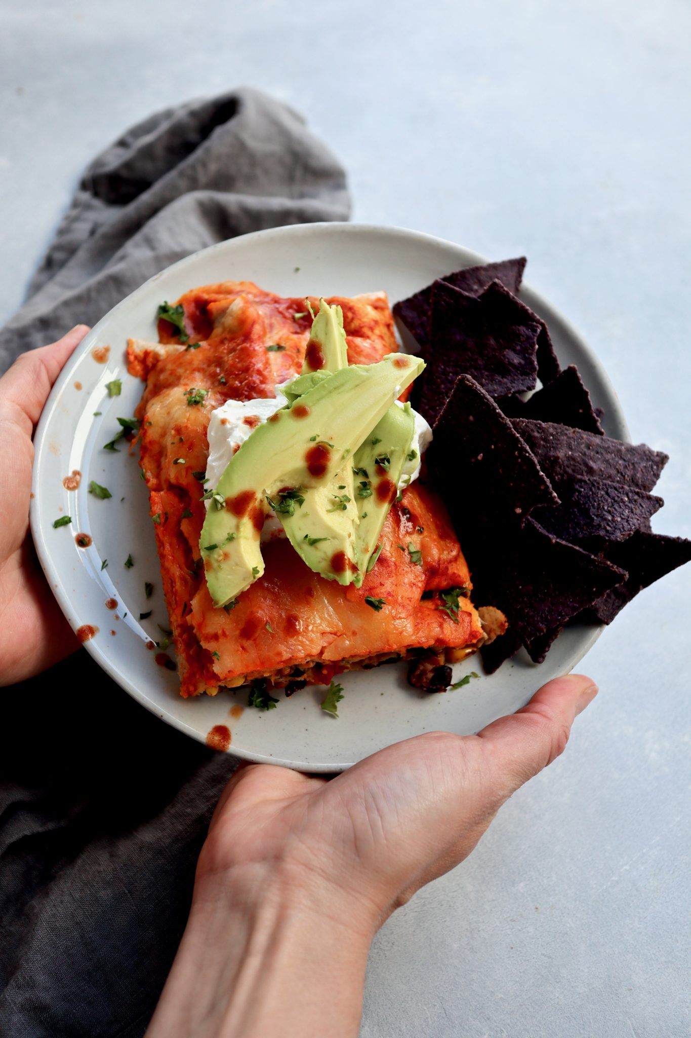 small-batch black bean, corn & spicy sweet potato enchiladas // cait's plate