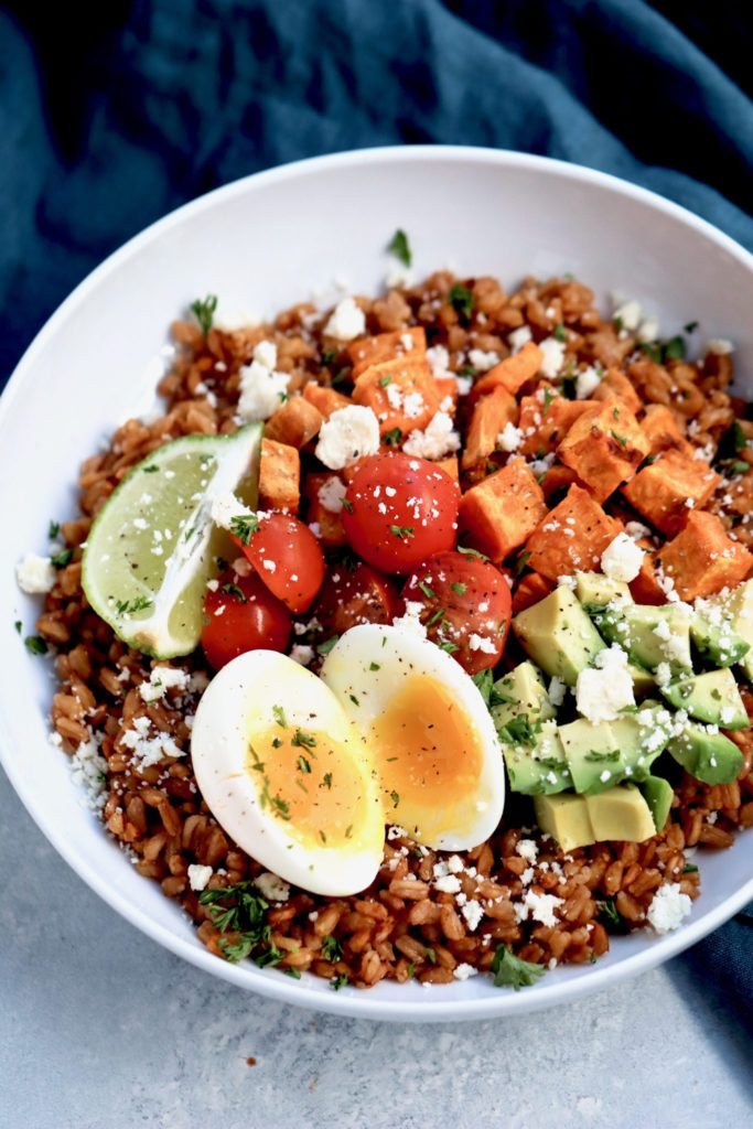 farro, sweet potato & avocado bowl with soft boiled egg // cait's plate