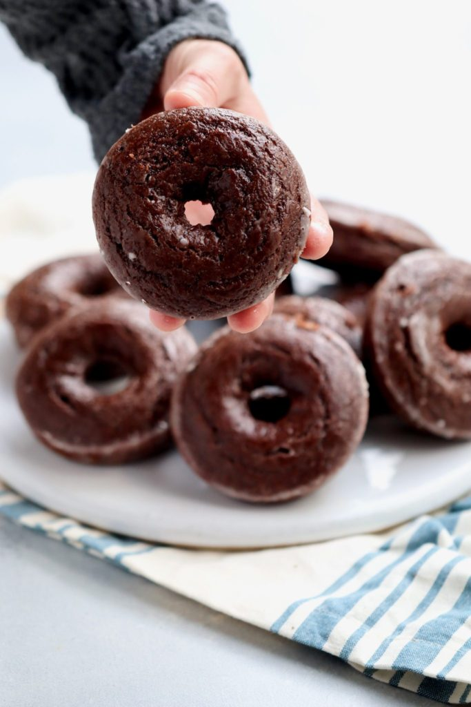 baked chocolate glazed doughnuts // cait's plate