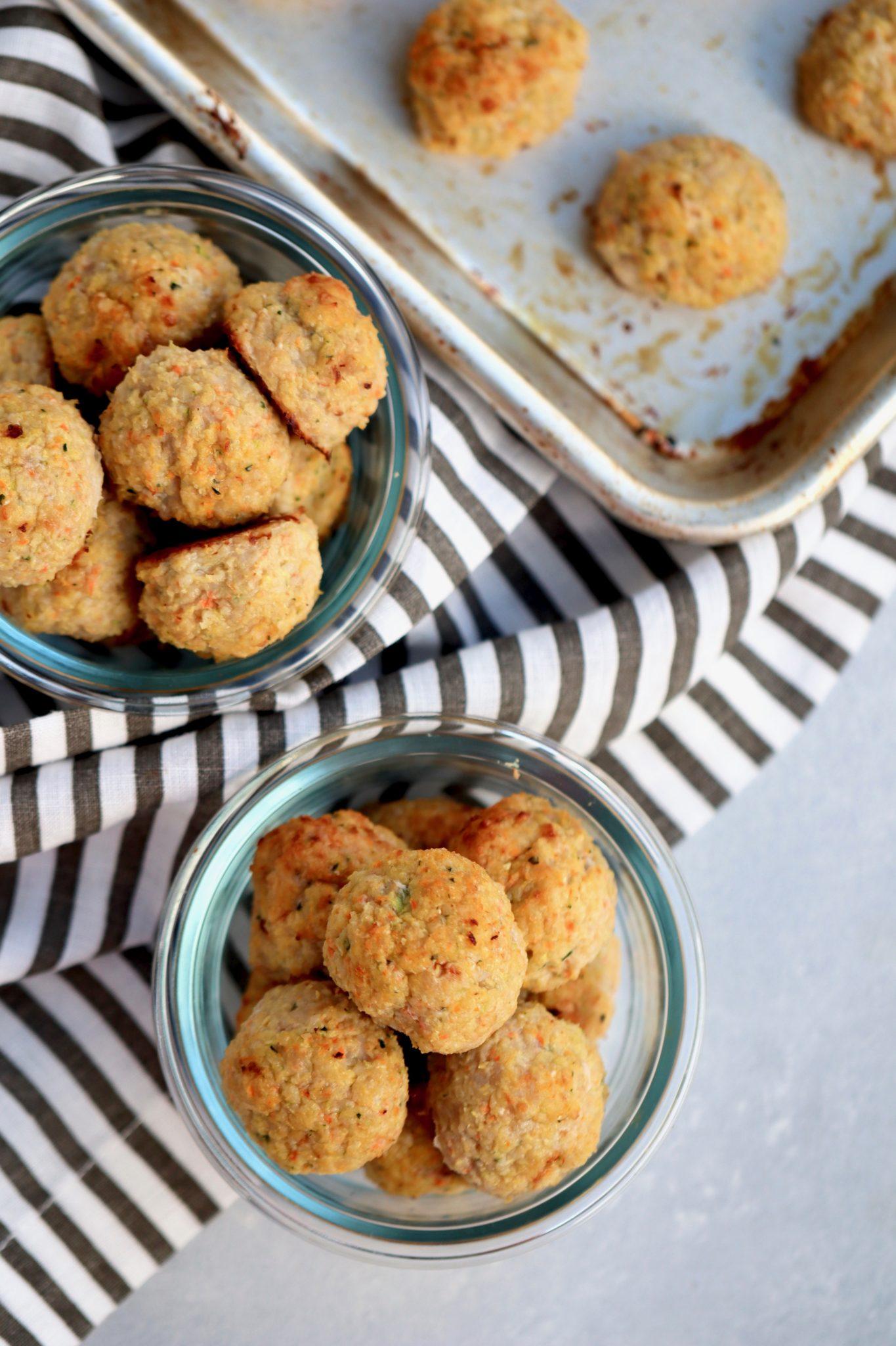 veggie-loaded baked chicken meatballs // cait's plate