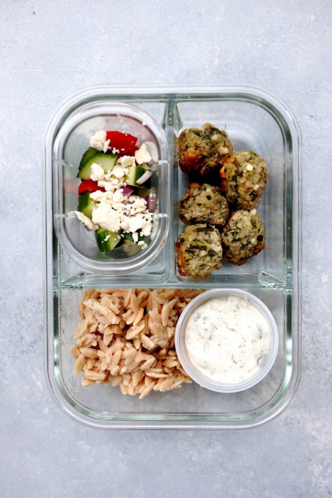 feta & spinach turkey meatballs // cait's plate