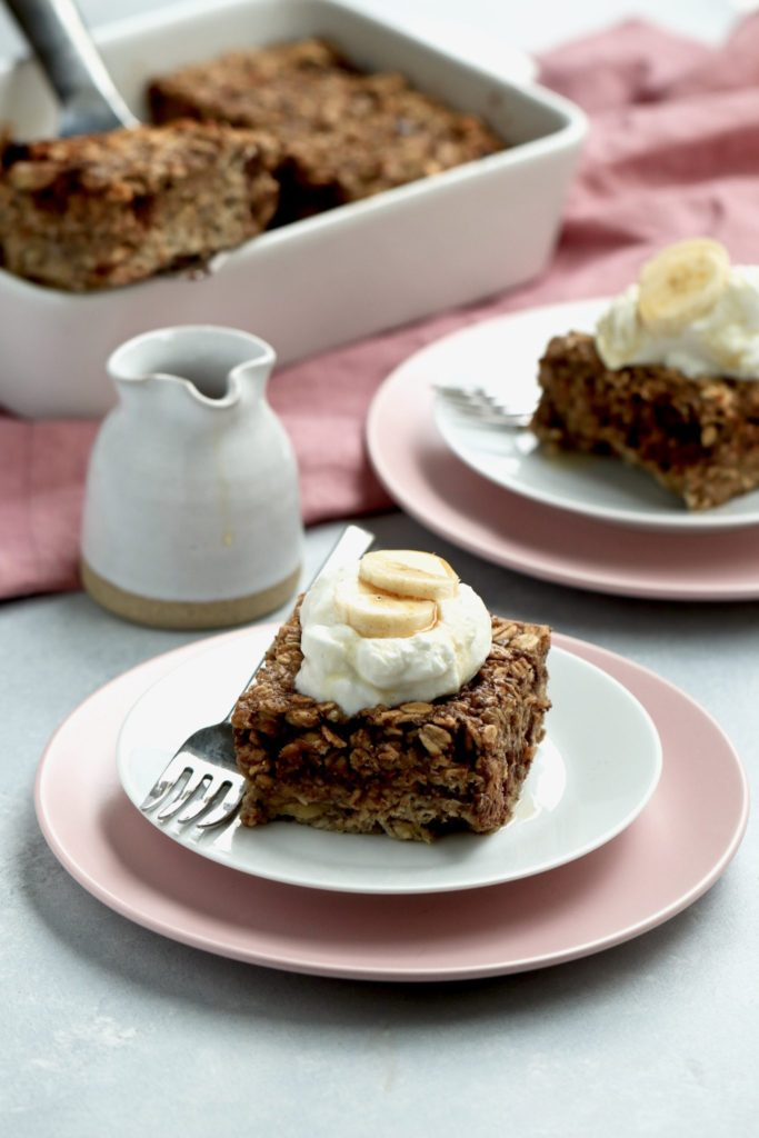 chocolate chip banana baked oatmeal // cait's plate
