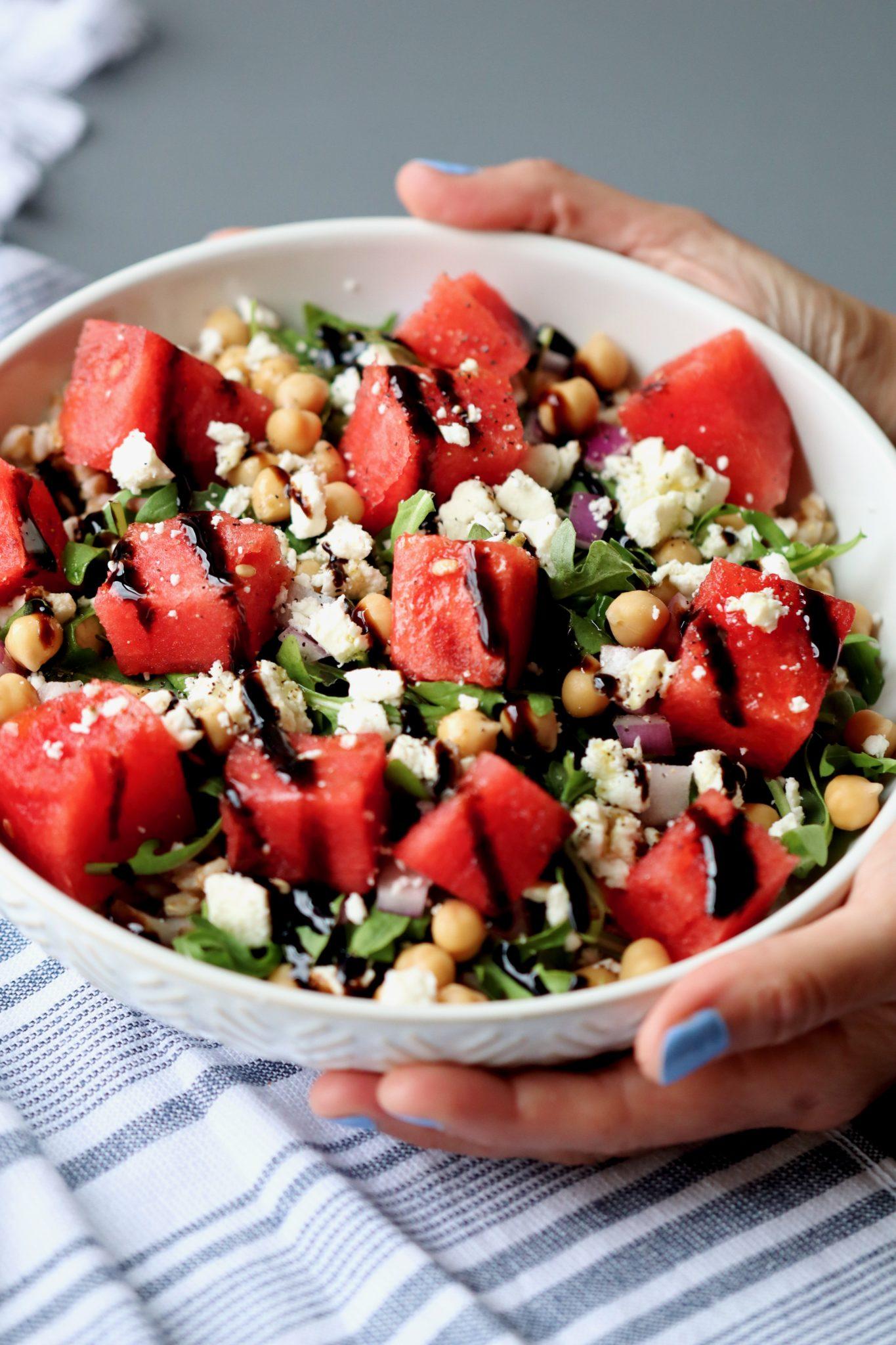 watermelon & feta farro bowl with chickpeas & arugula // cait's plate