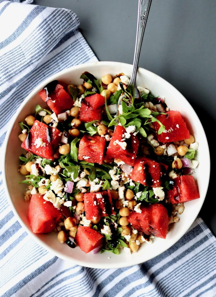 watermelon & feta farro bowl with chickpeas & arugula // cait's plate