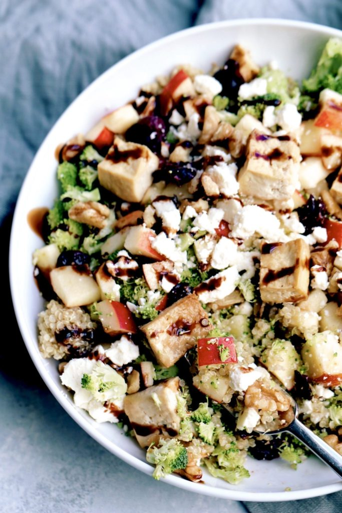 quinoa, broccoli & apple salad with feta & tofu // cait's plate