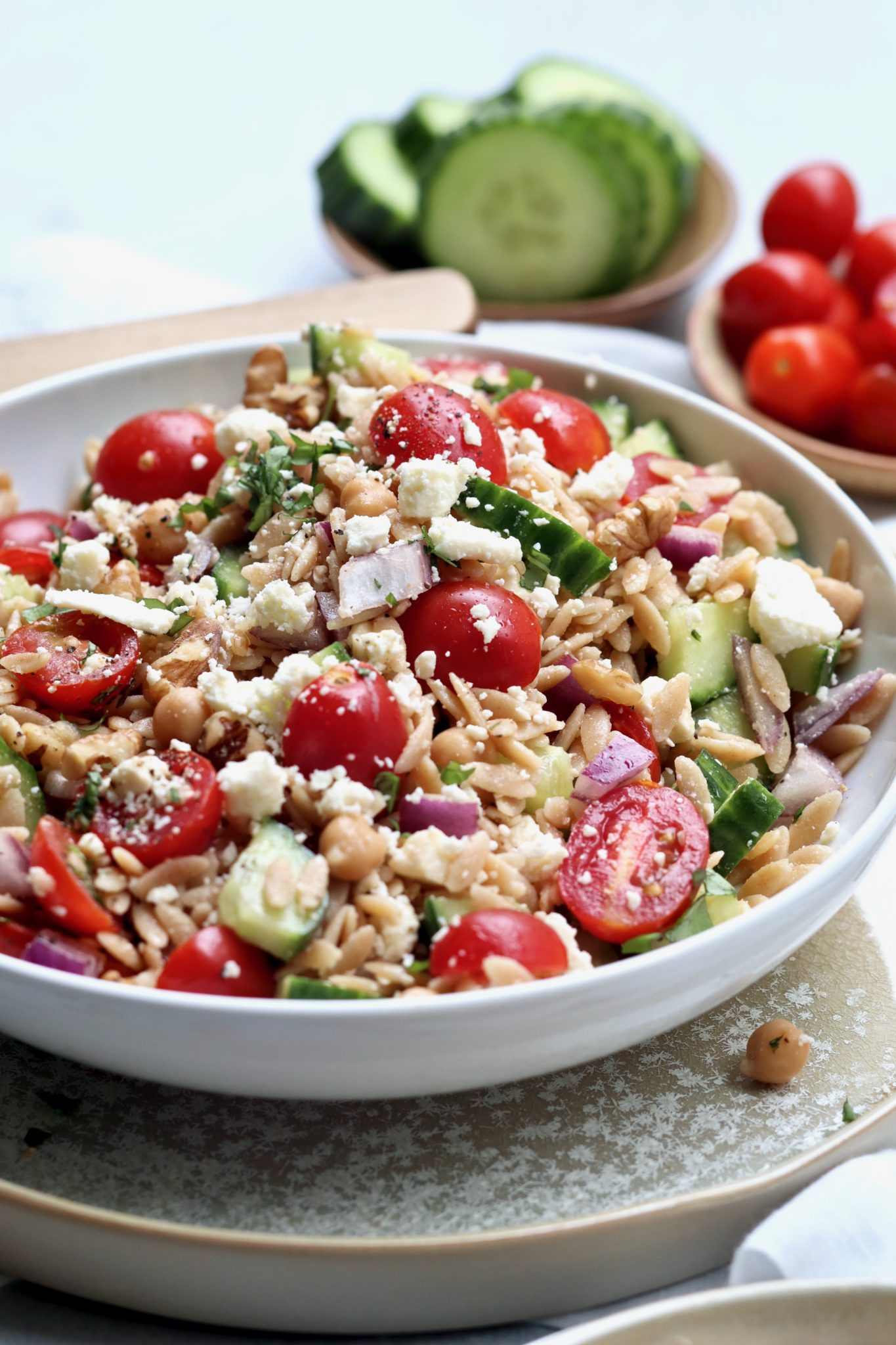 greek orzo pasta salad // cait's plate