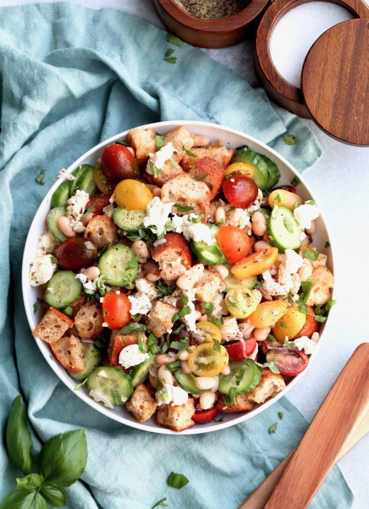 white bean panzanella salad // cait's plate