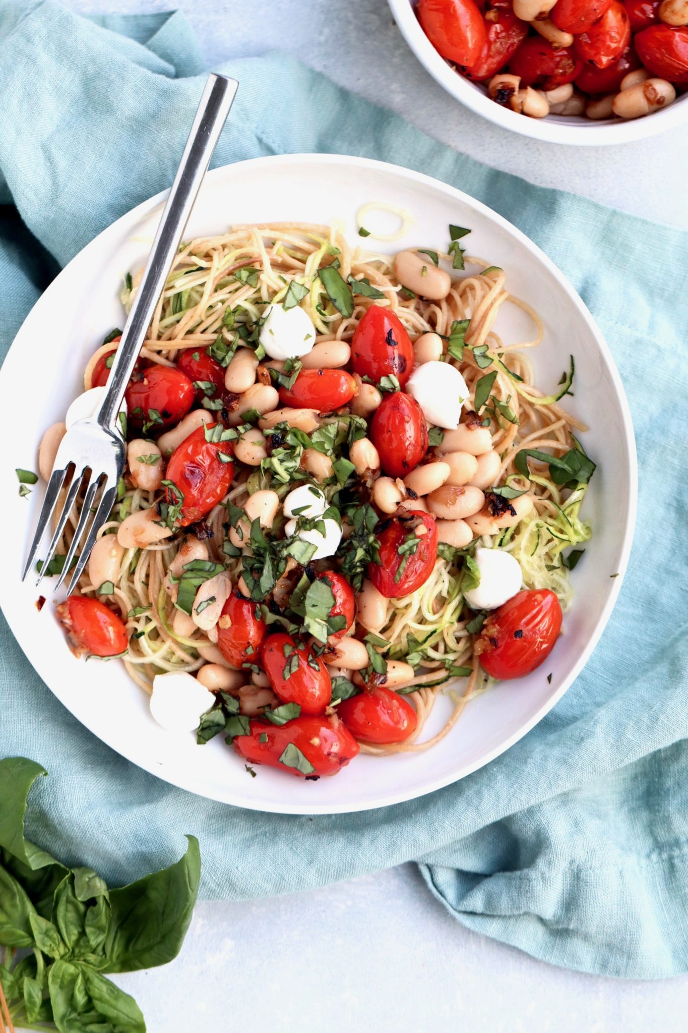 zucchini pasta with white beans and burst tomatoes // cait's plate