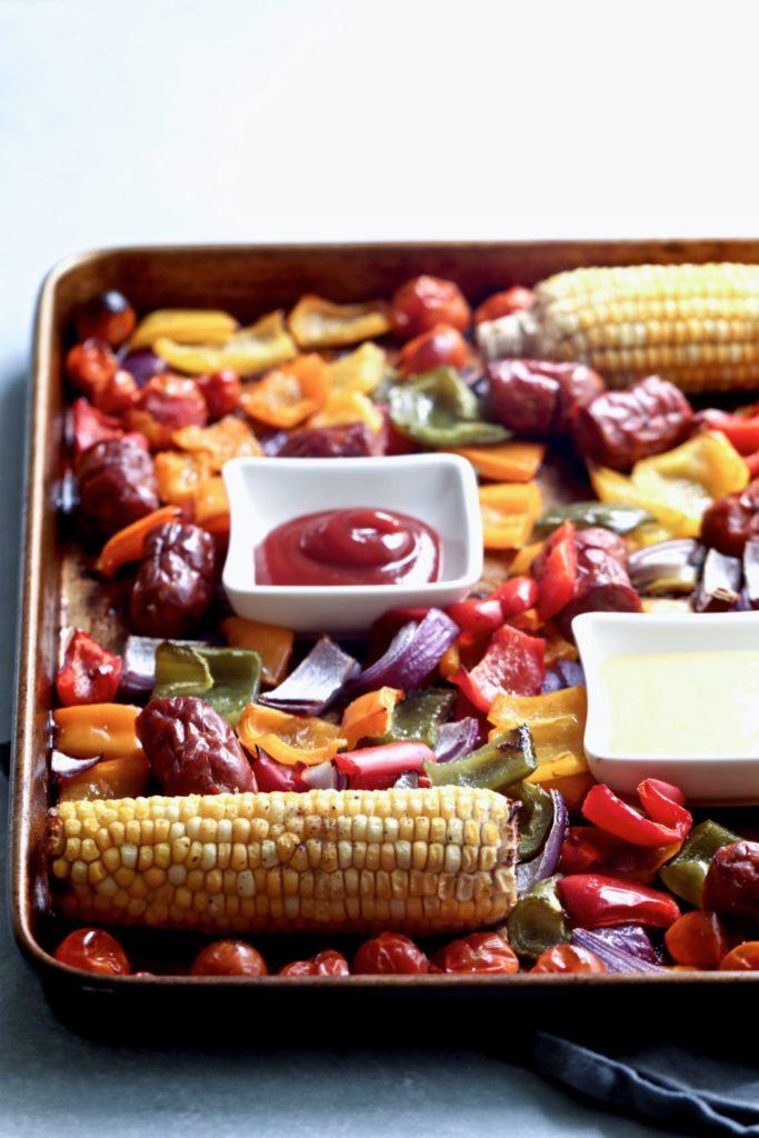 easy chicken sausage & mixed veggie sheet pan dinner // cait's plate
