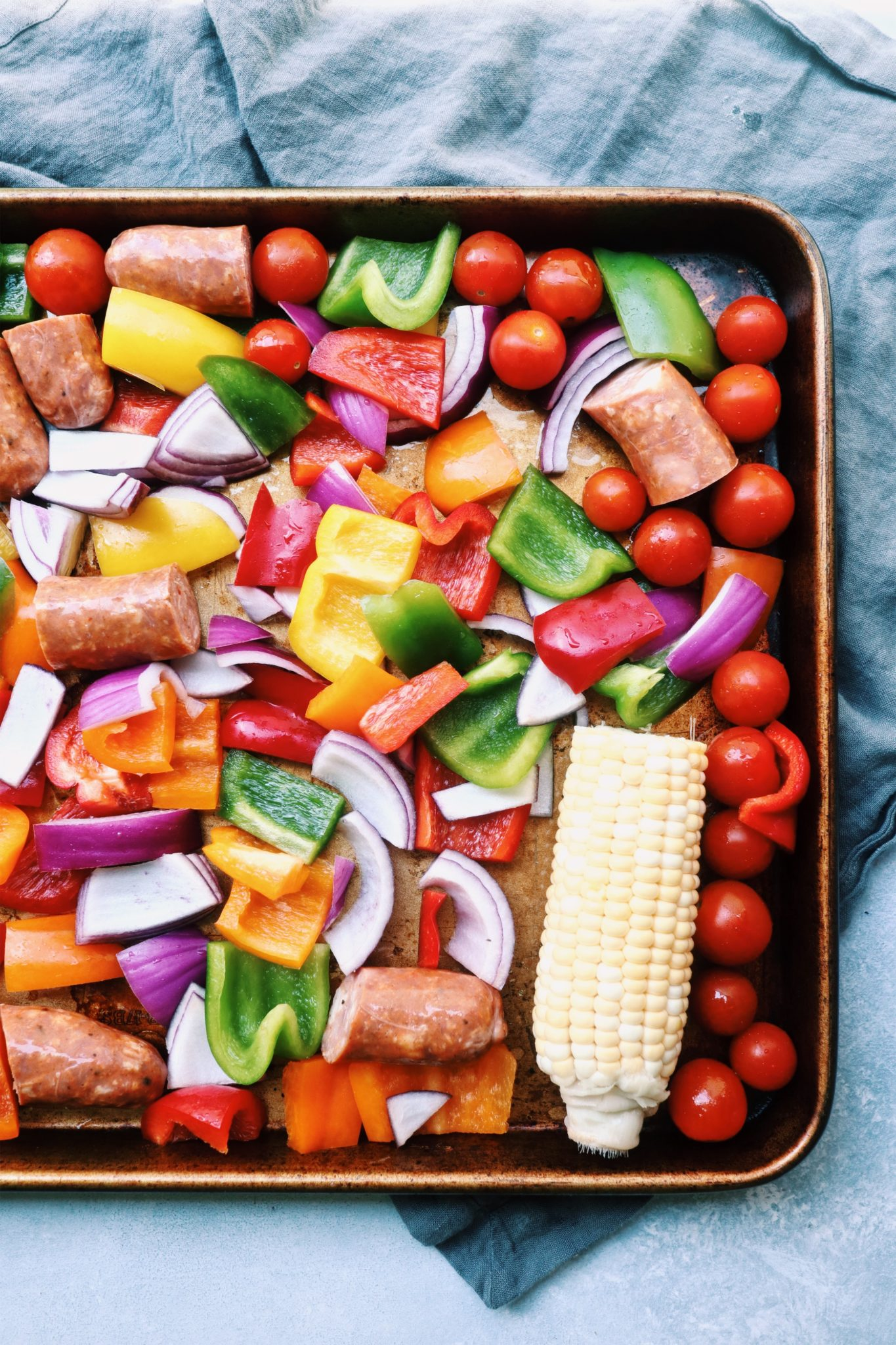 easy chicken sausage & mixed veggie sheet pan dinner // cait's plate