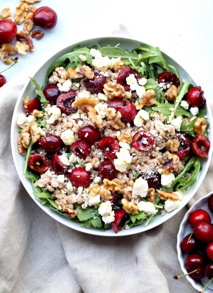 cherry farro & feta salad // cait's plate